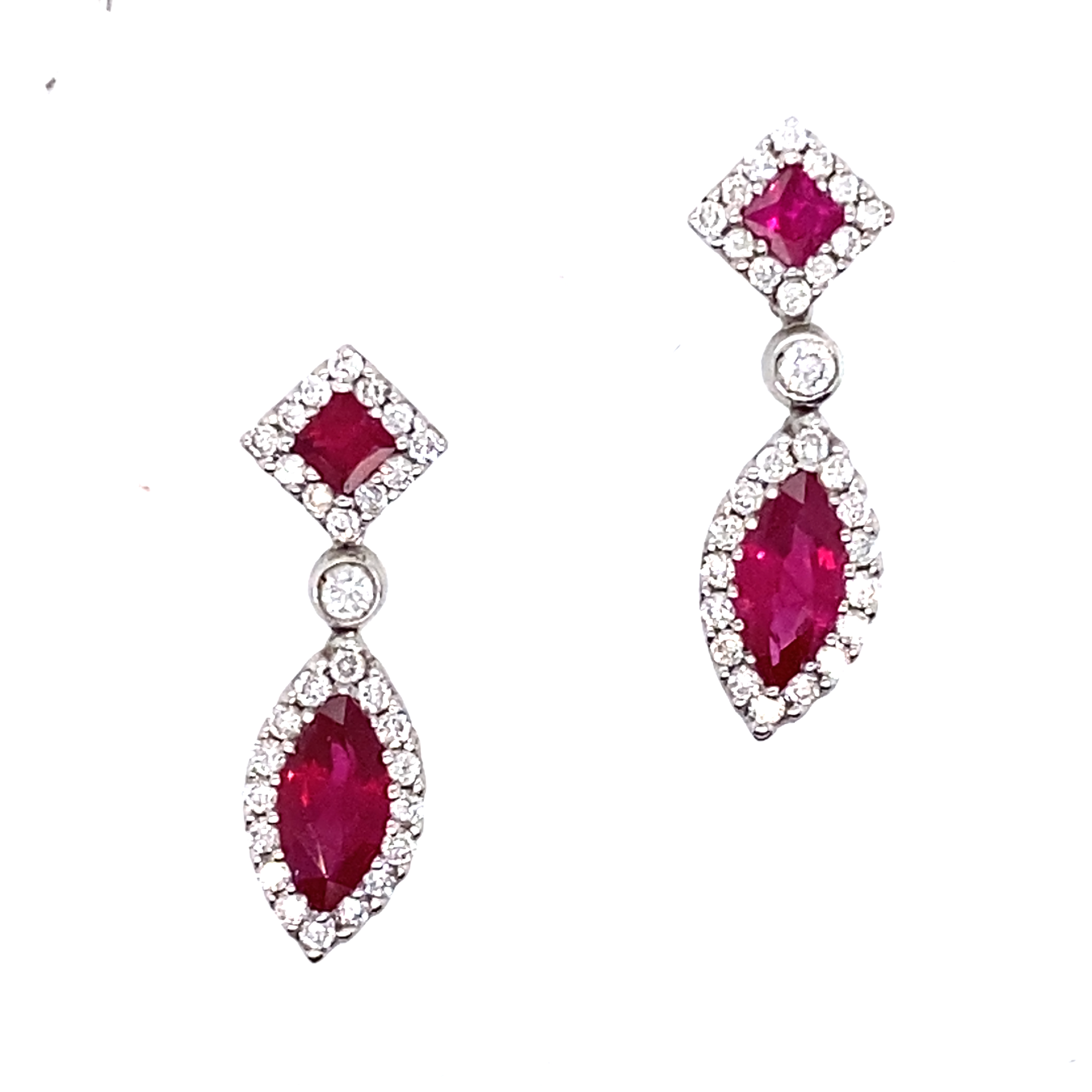 18ct White Gold Ruby and Diamond Dangly Earrings