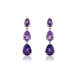 9ct white gold Pear Amethyst drops