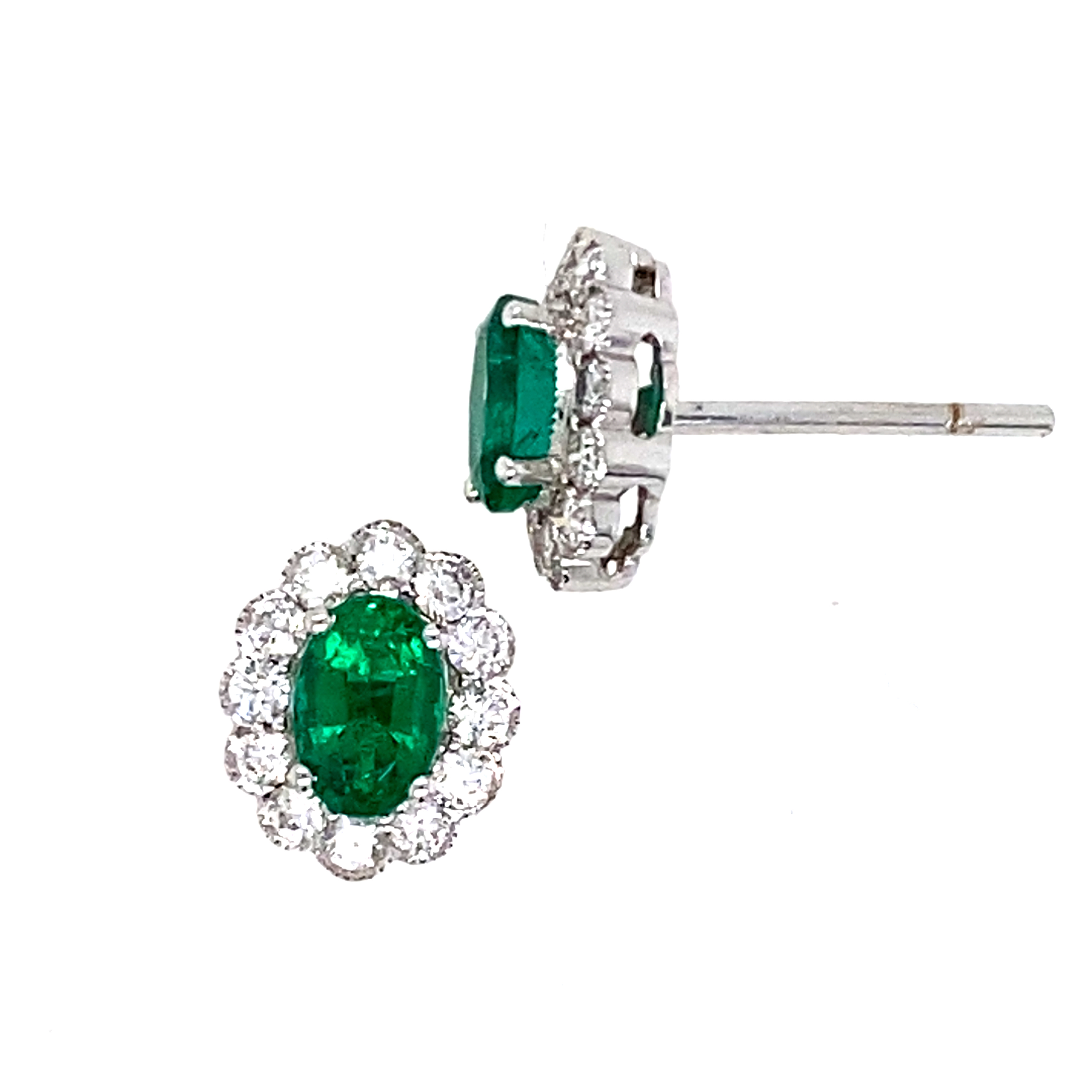 18 White Gold Diamond and Emerald Stud Earrings