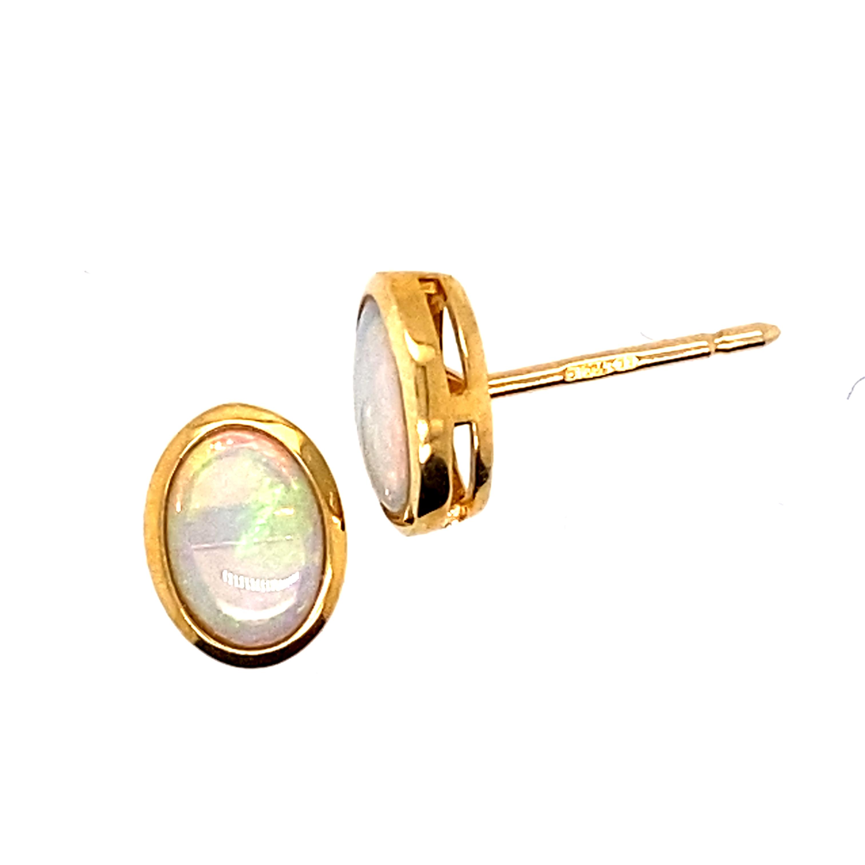 Opal Stud Earrings in 9 Carat Yellow Gold