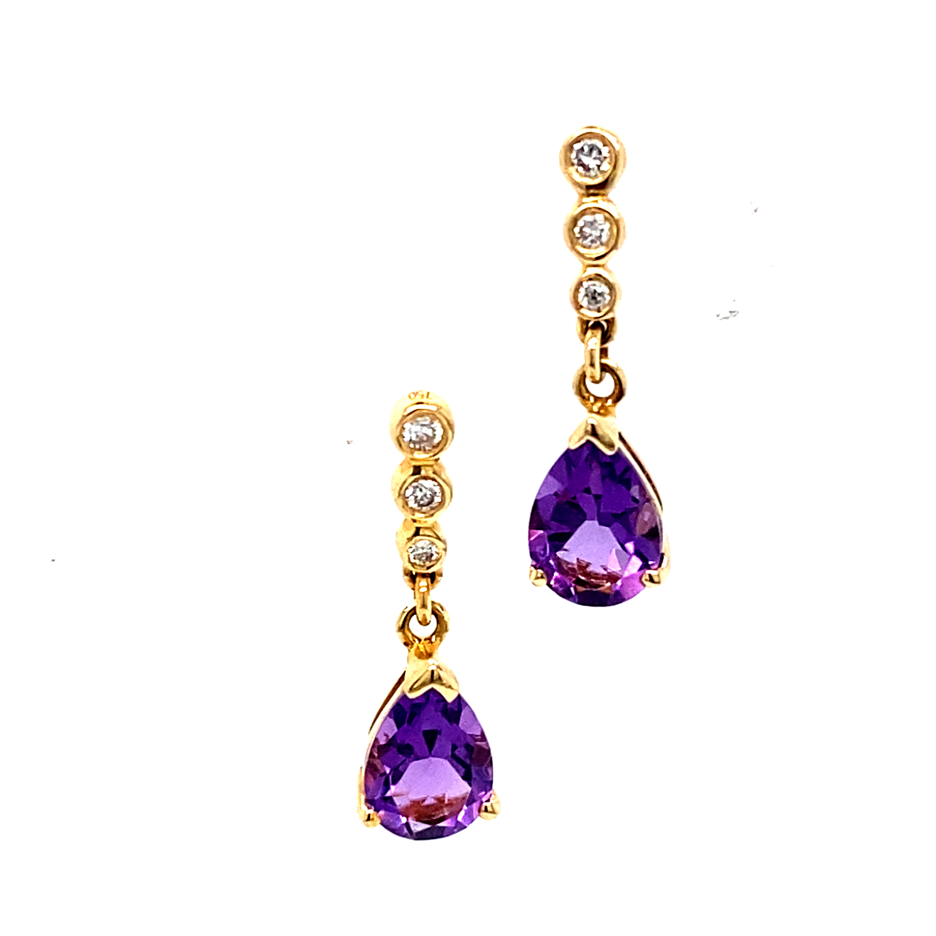 18 Carat Yellow Gold, Amethyst and Diamond Drop Earrings