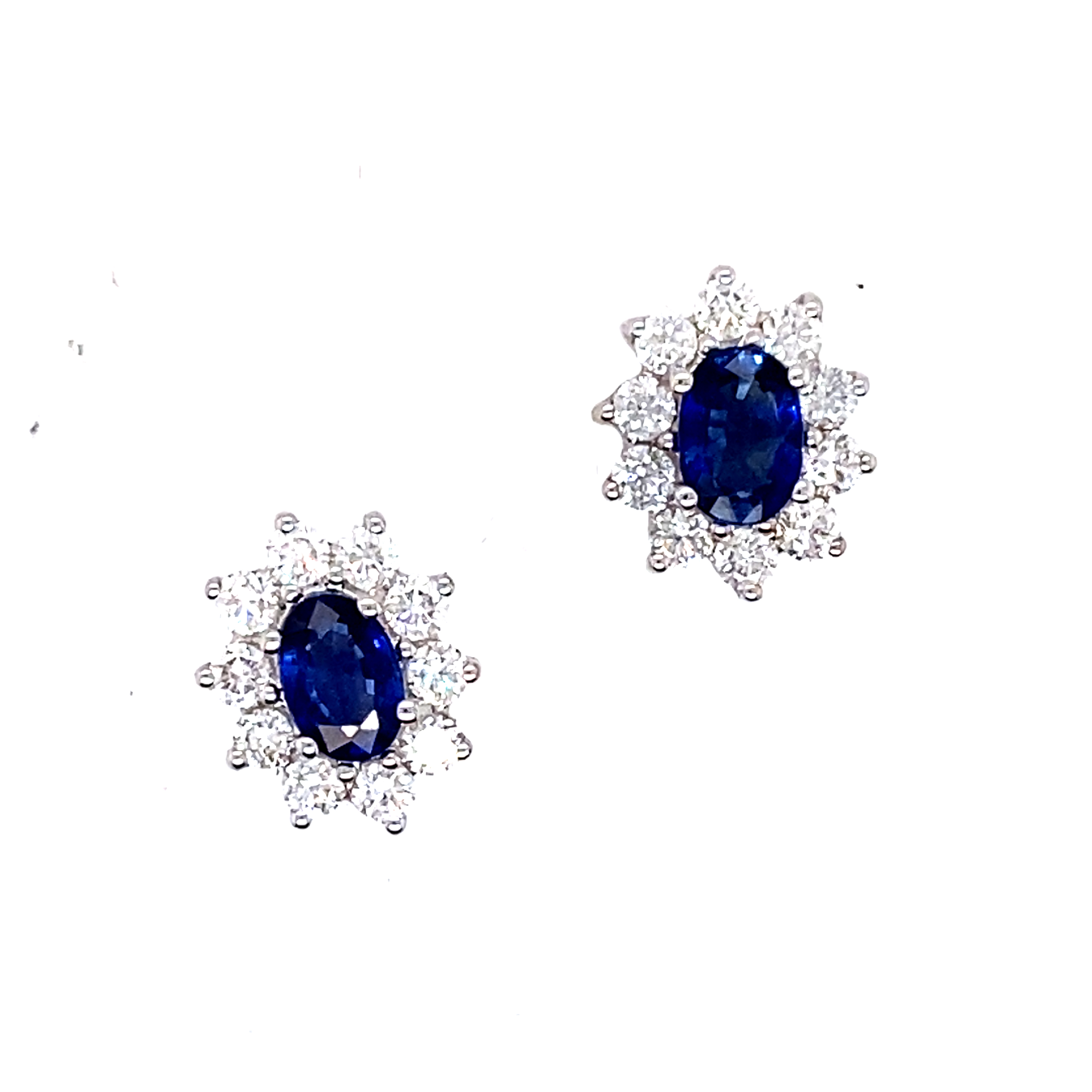 18ct White Gold, Sapphire and Diamond Stud Earrings