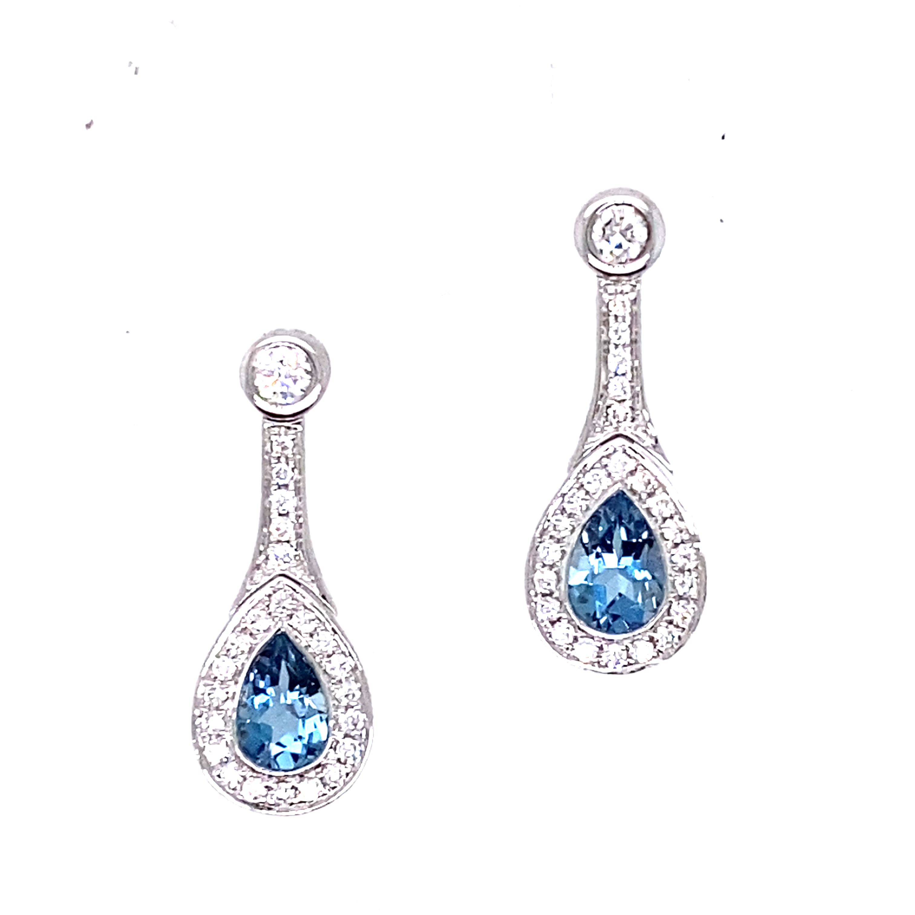 18ct white gold Aquamarine and Diamond dangly earrings