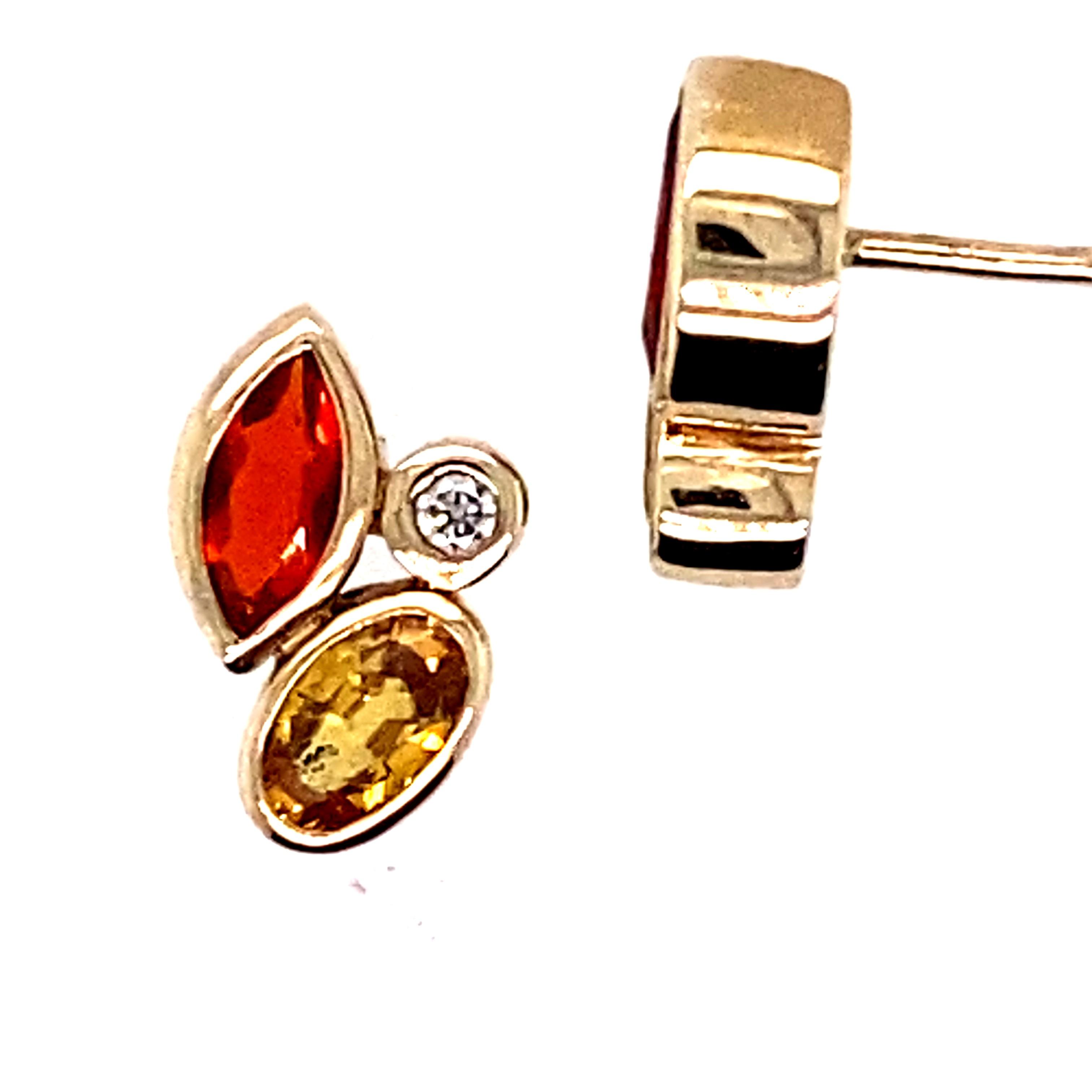 9 Carat Yellow Gold, Fire Opal, Yellow Sapphire and Diamond Stud