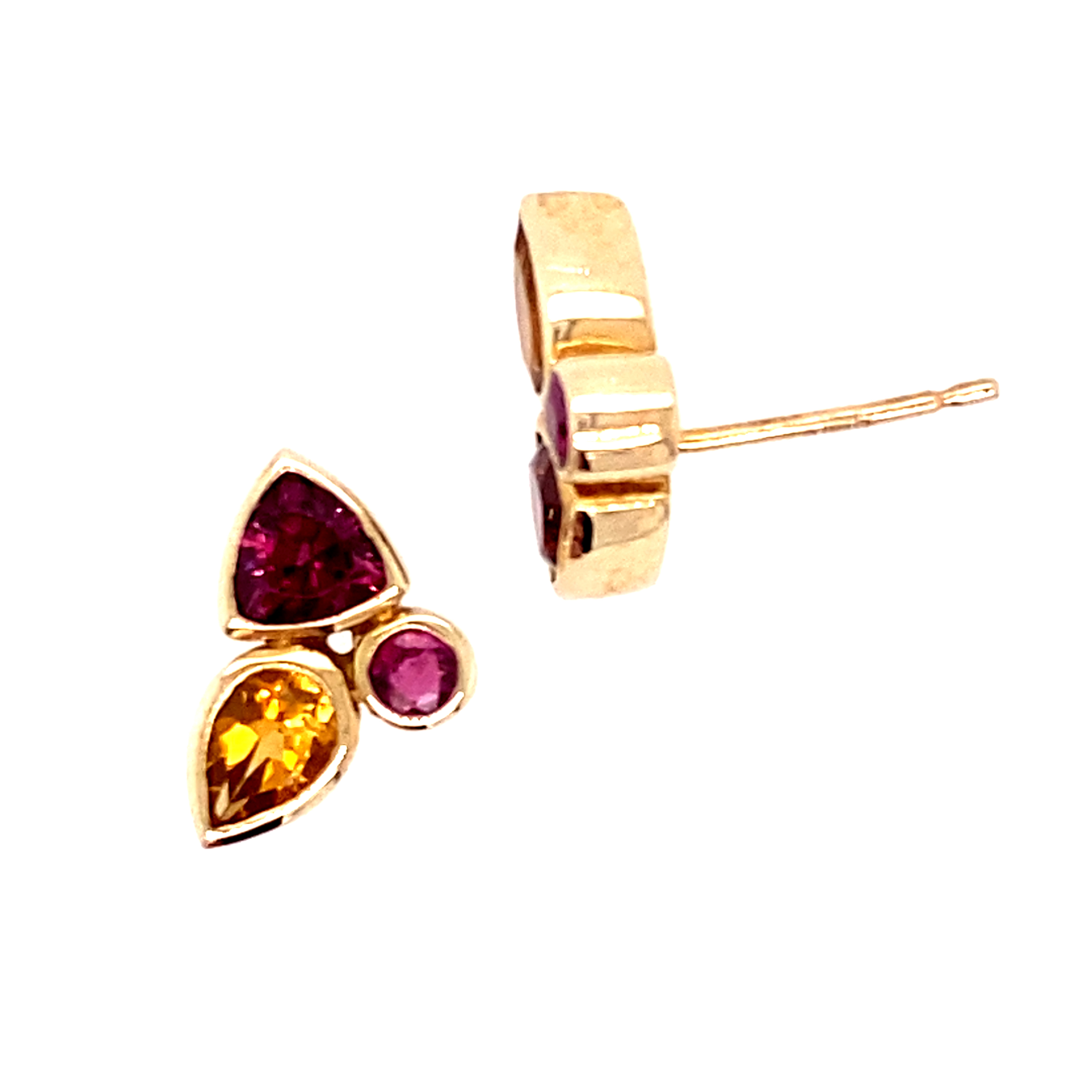 9 Carat Yellow Gold Studs with Rubies, rhodolite garnet and cit