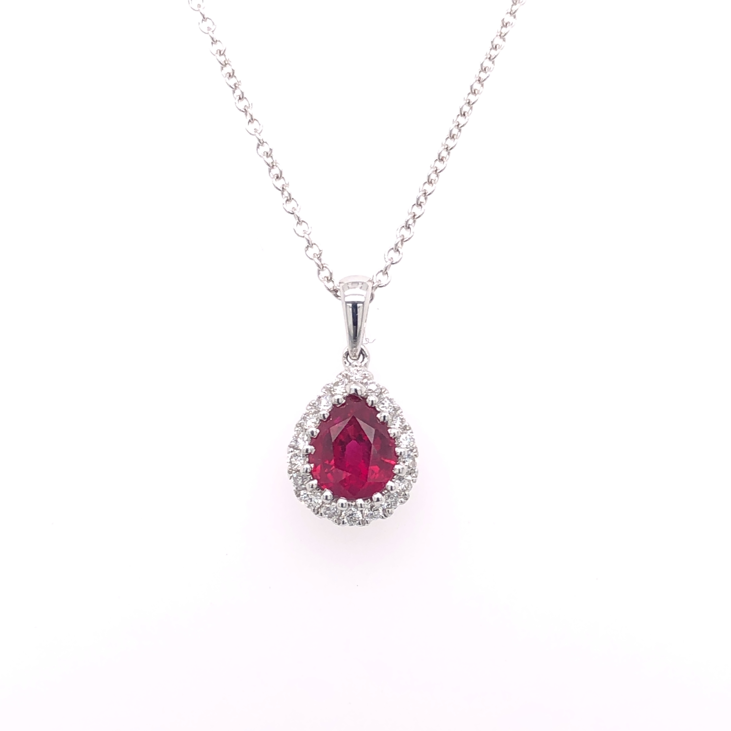 18ct White Gold Ruby and Diamond Halo Pendant