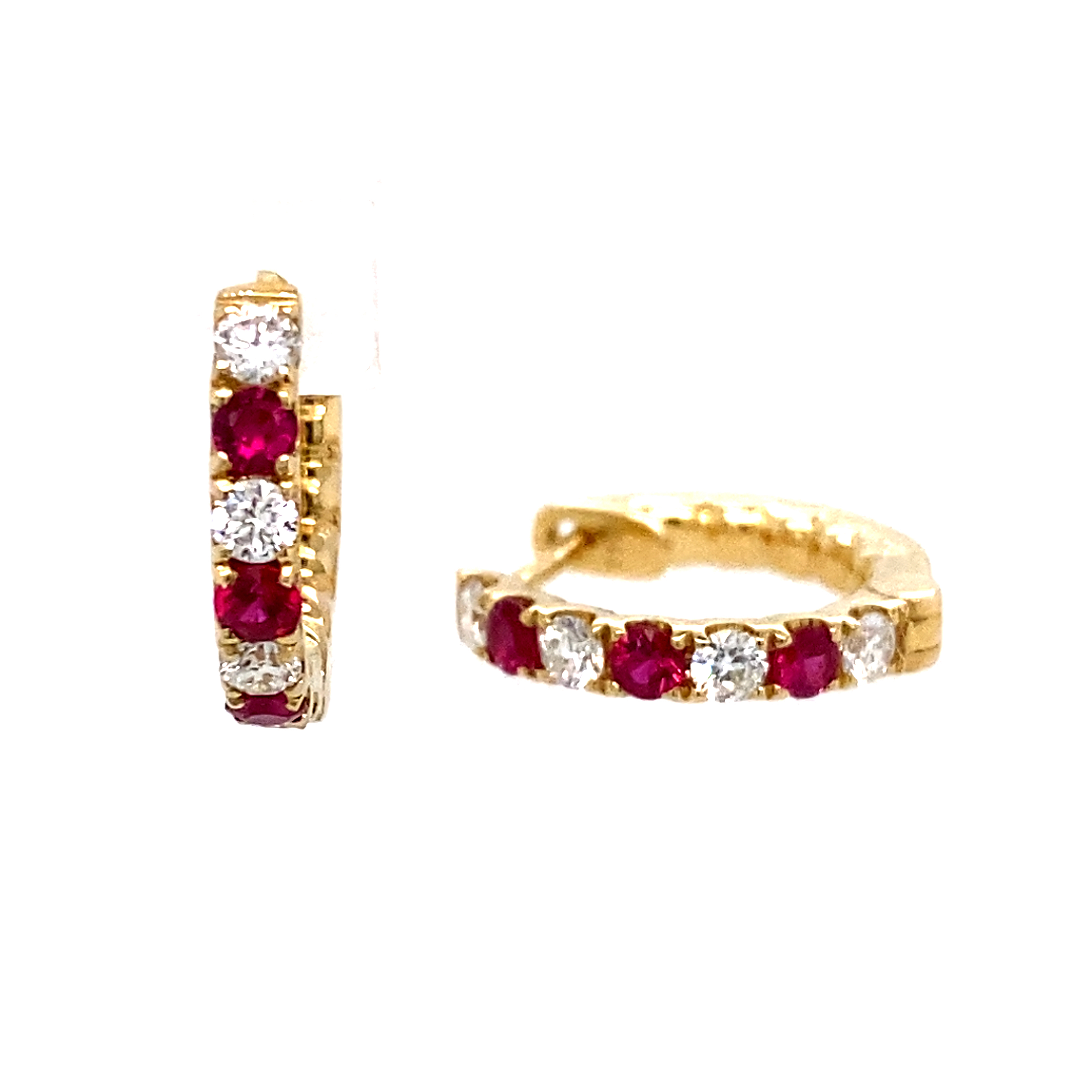 !8ct Yellow Gold Ruby and Diamond Hoops