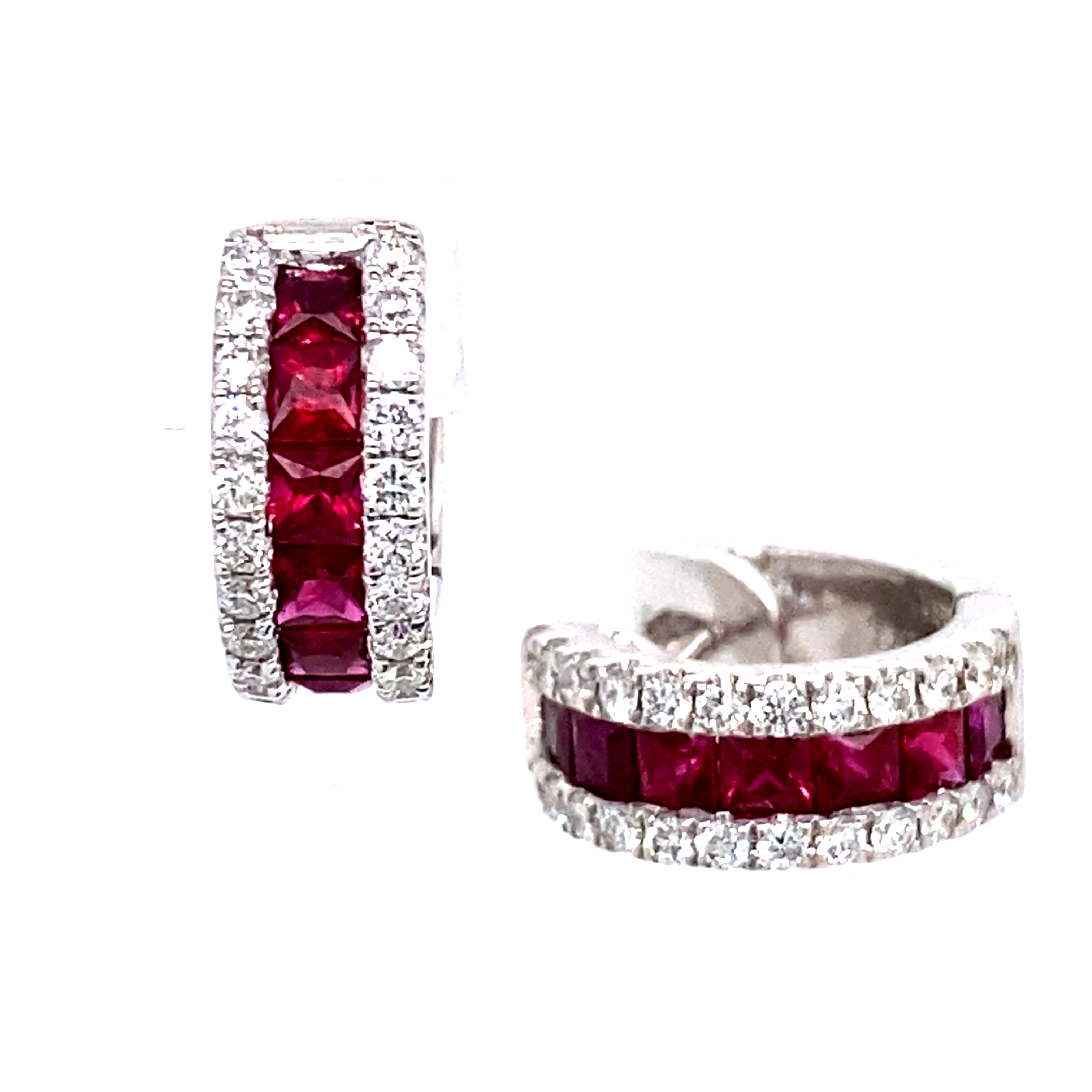18ct White Gold Ruby and Diamond Hoops