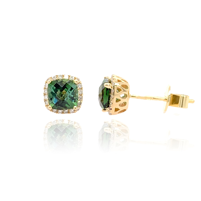 9ct yellow gold Diamond and green Tourmaline studs