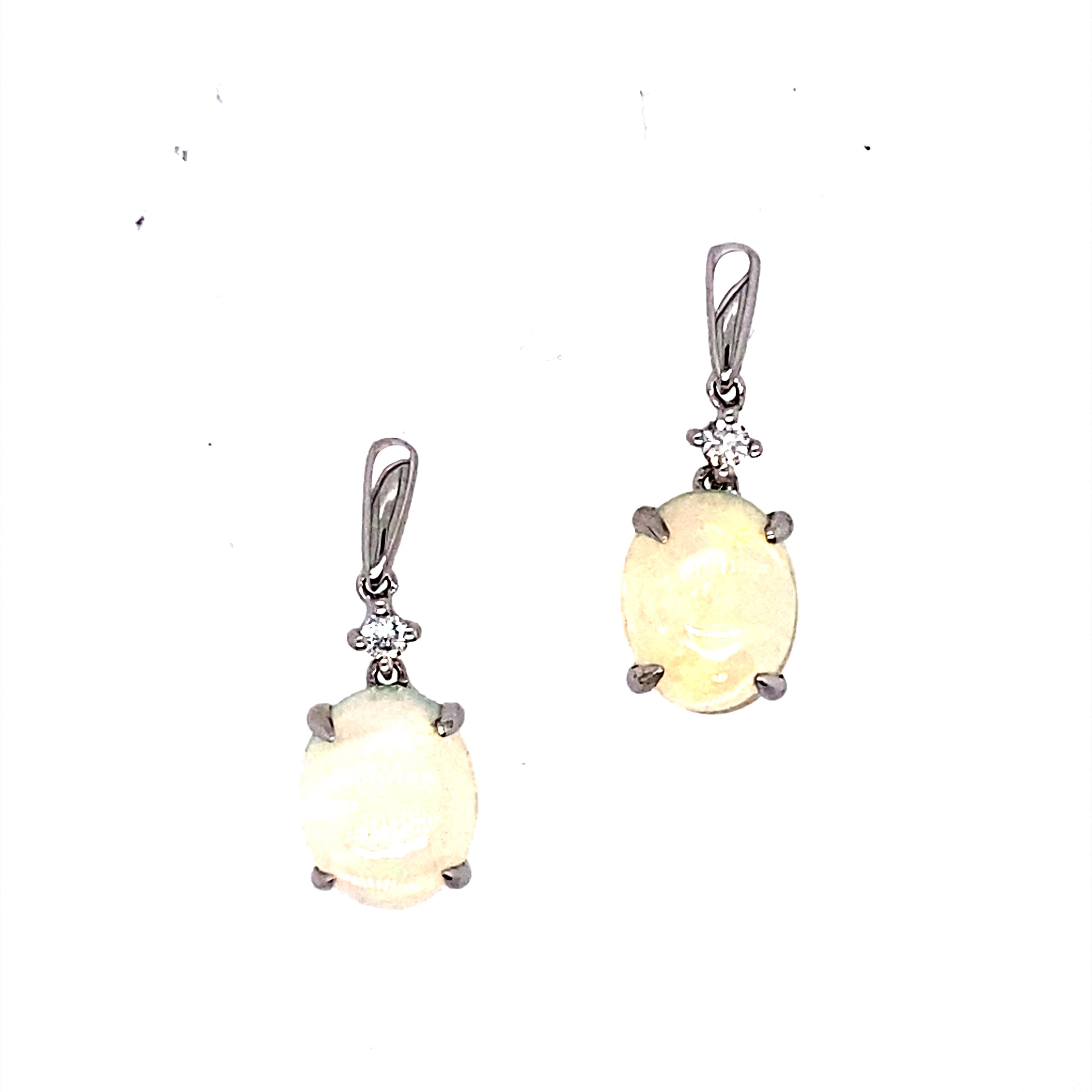 9 Carat White Gold Diamond & Opal Drop Earrings