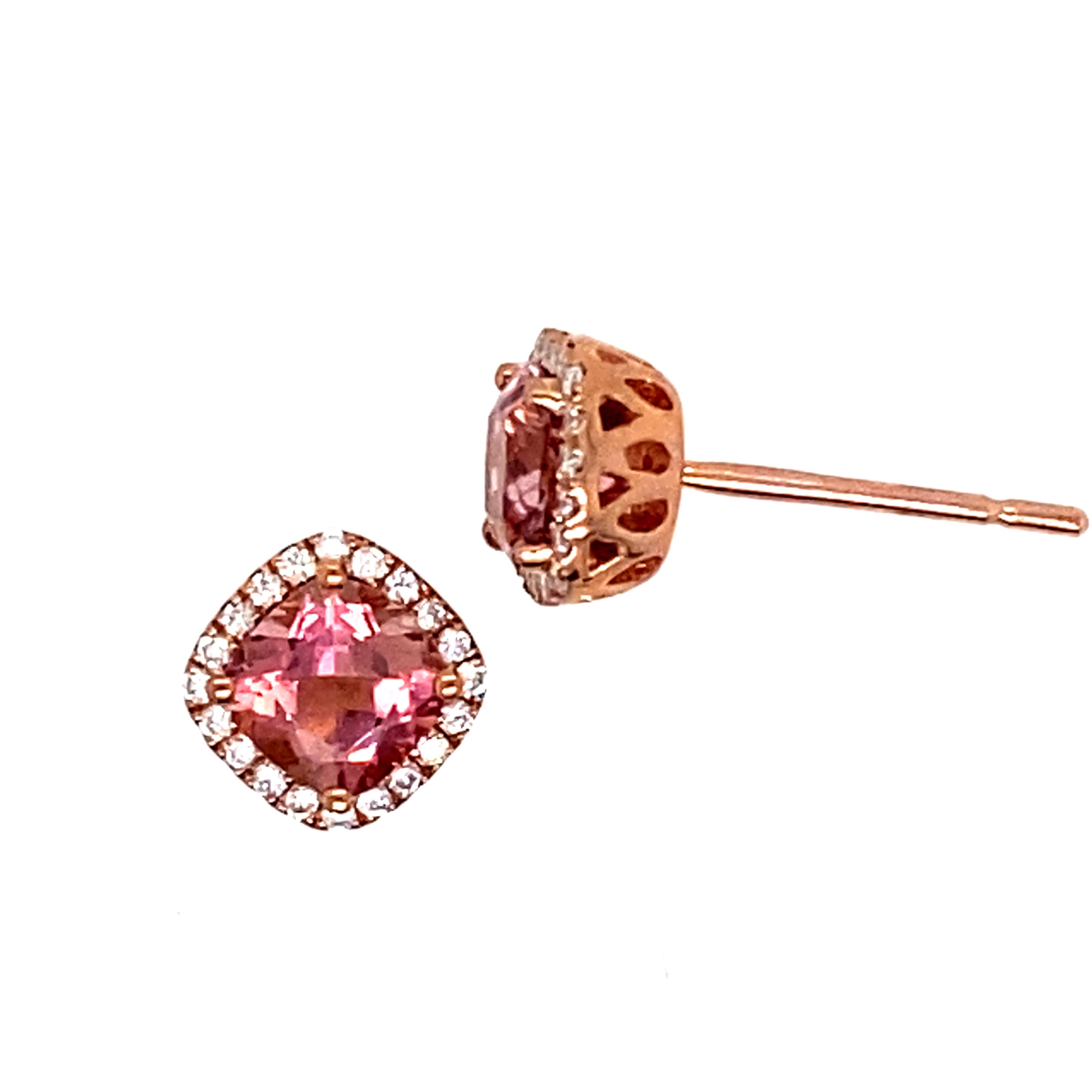 9 Carat Rose Gold, Pink Tourmaline and Diamond Studs