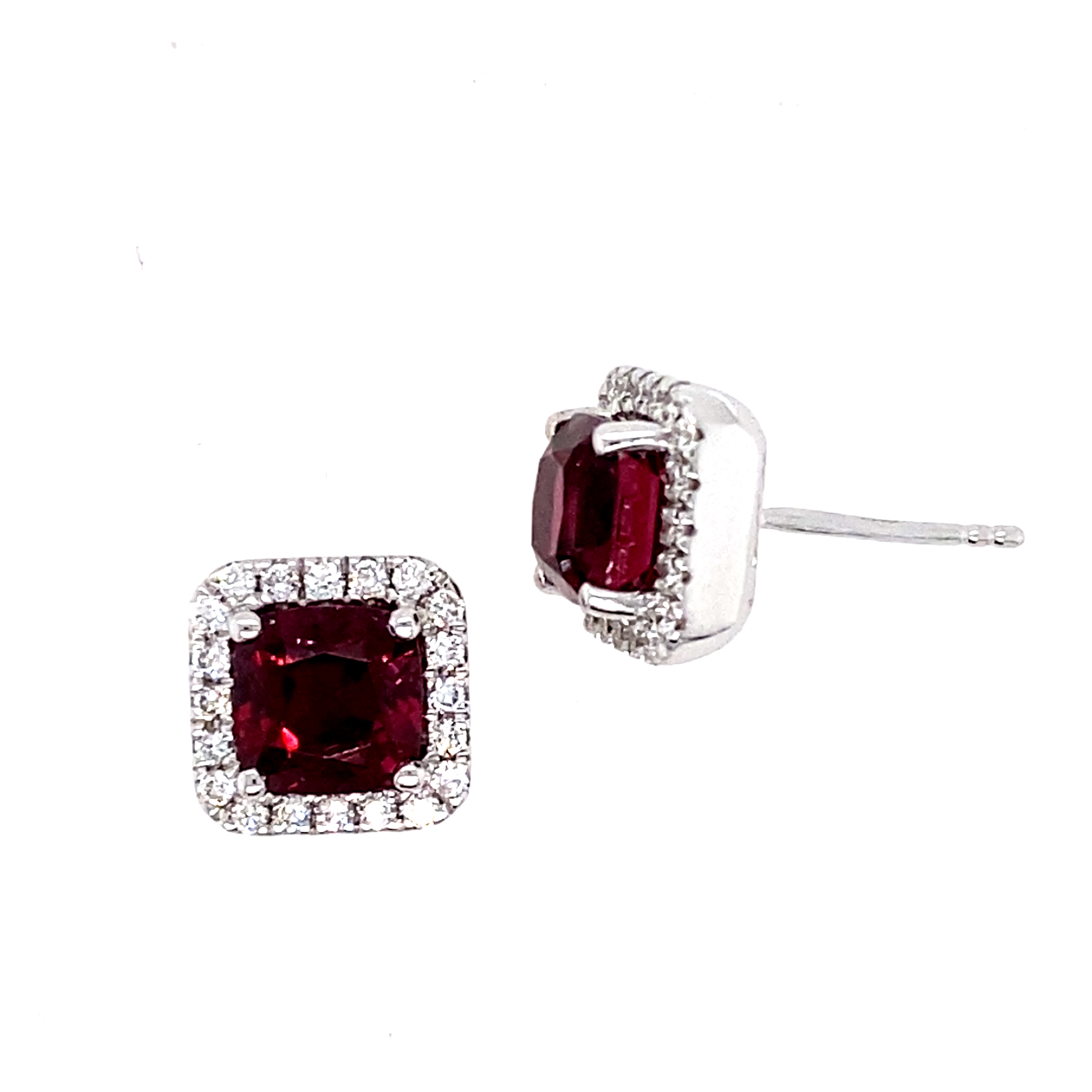 18 Carat White Gold Rhodolite Garnet and Diamond Studs