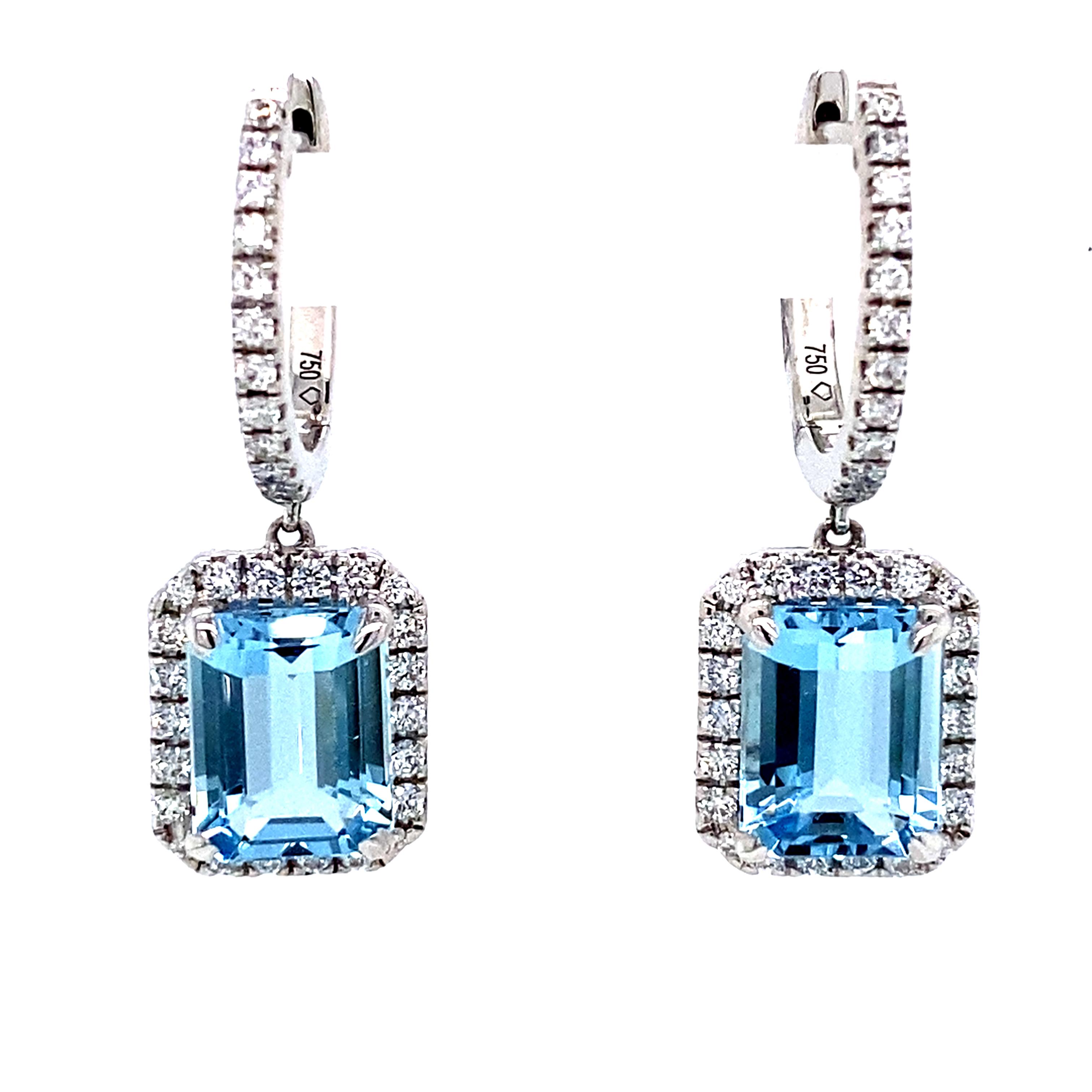 1.44 Carat Aquamarine and Diamond Dangly Drop Earrings