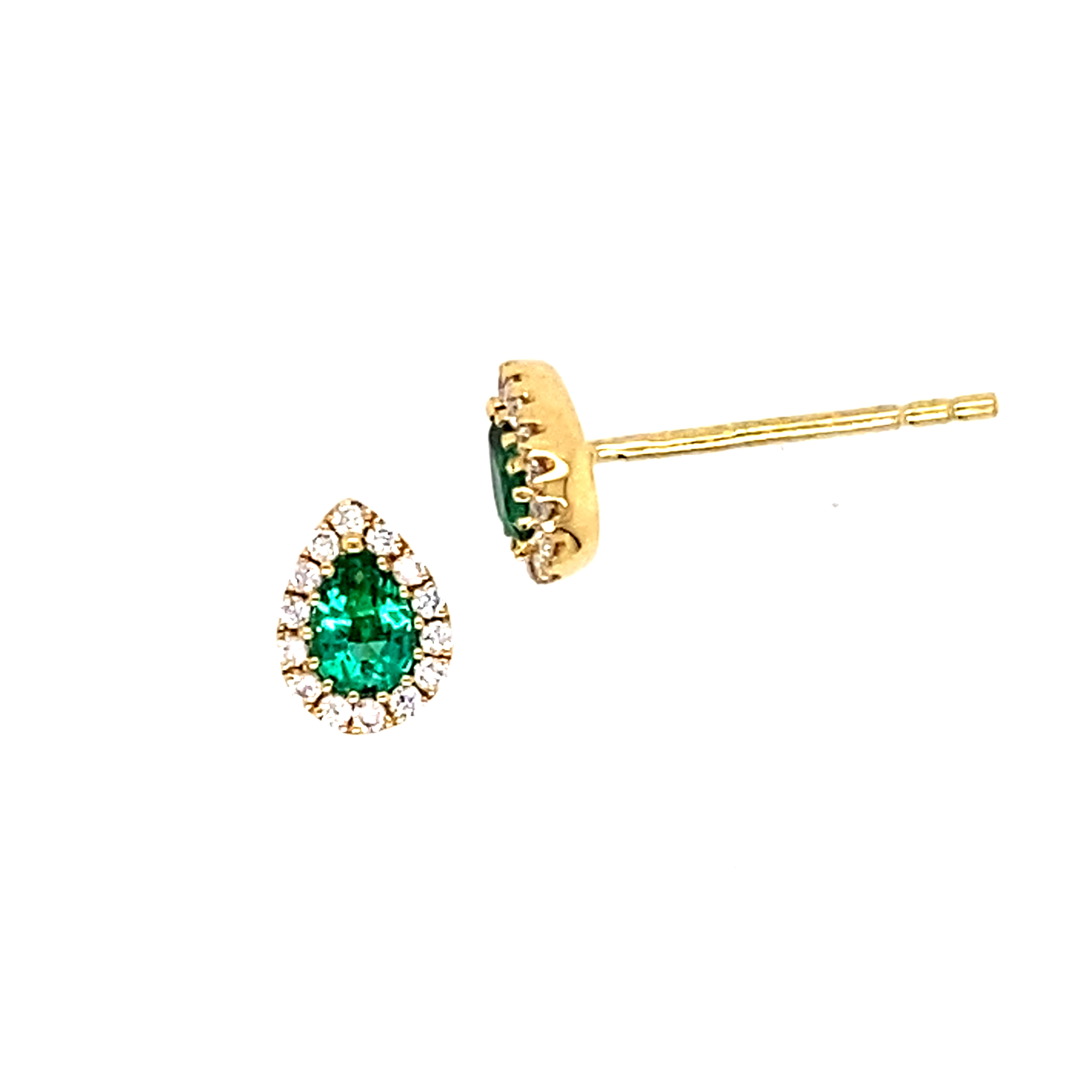 18 Carat Yellow Gold Emerald and Diamond Sstuds