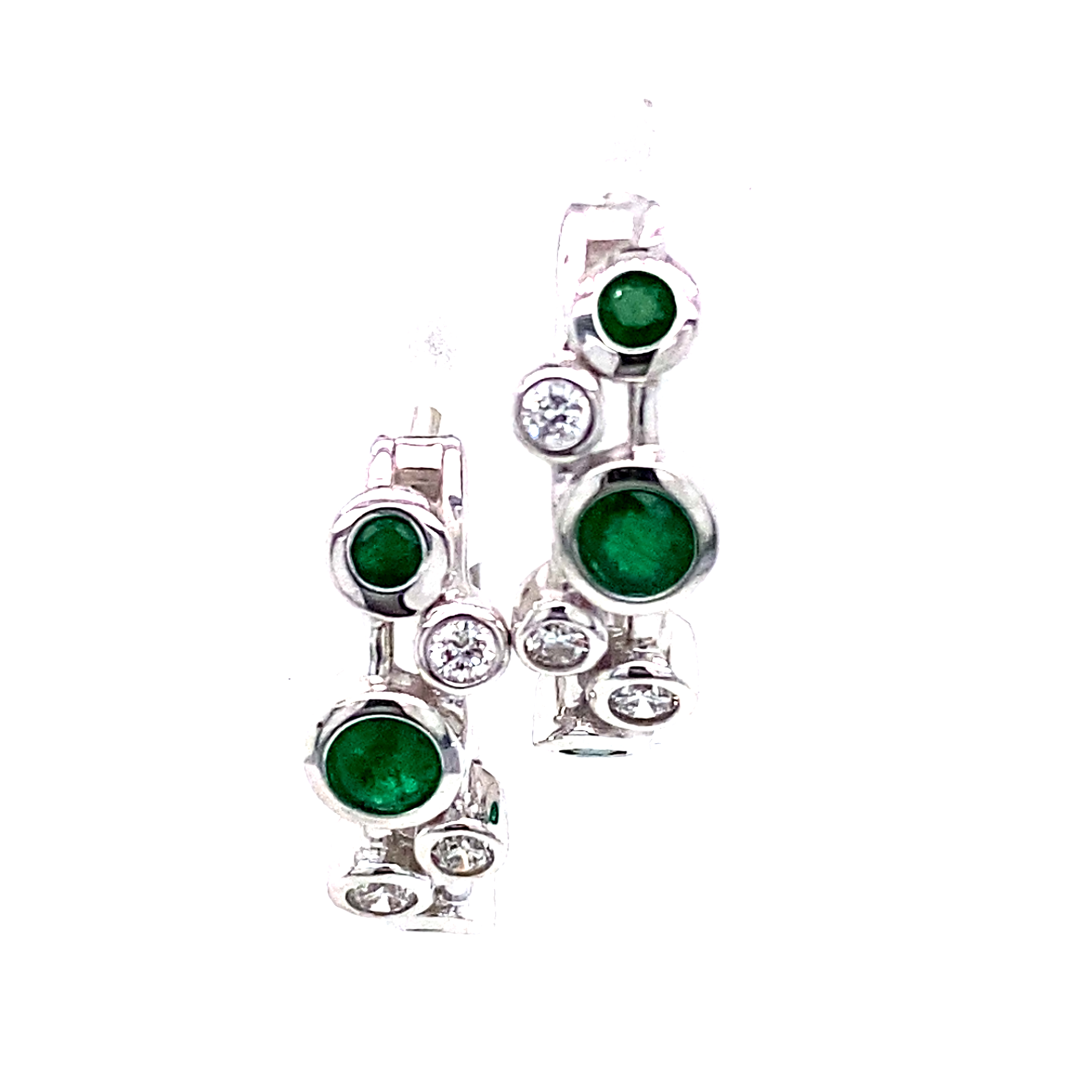 Emerald and diamond Hoops