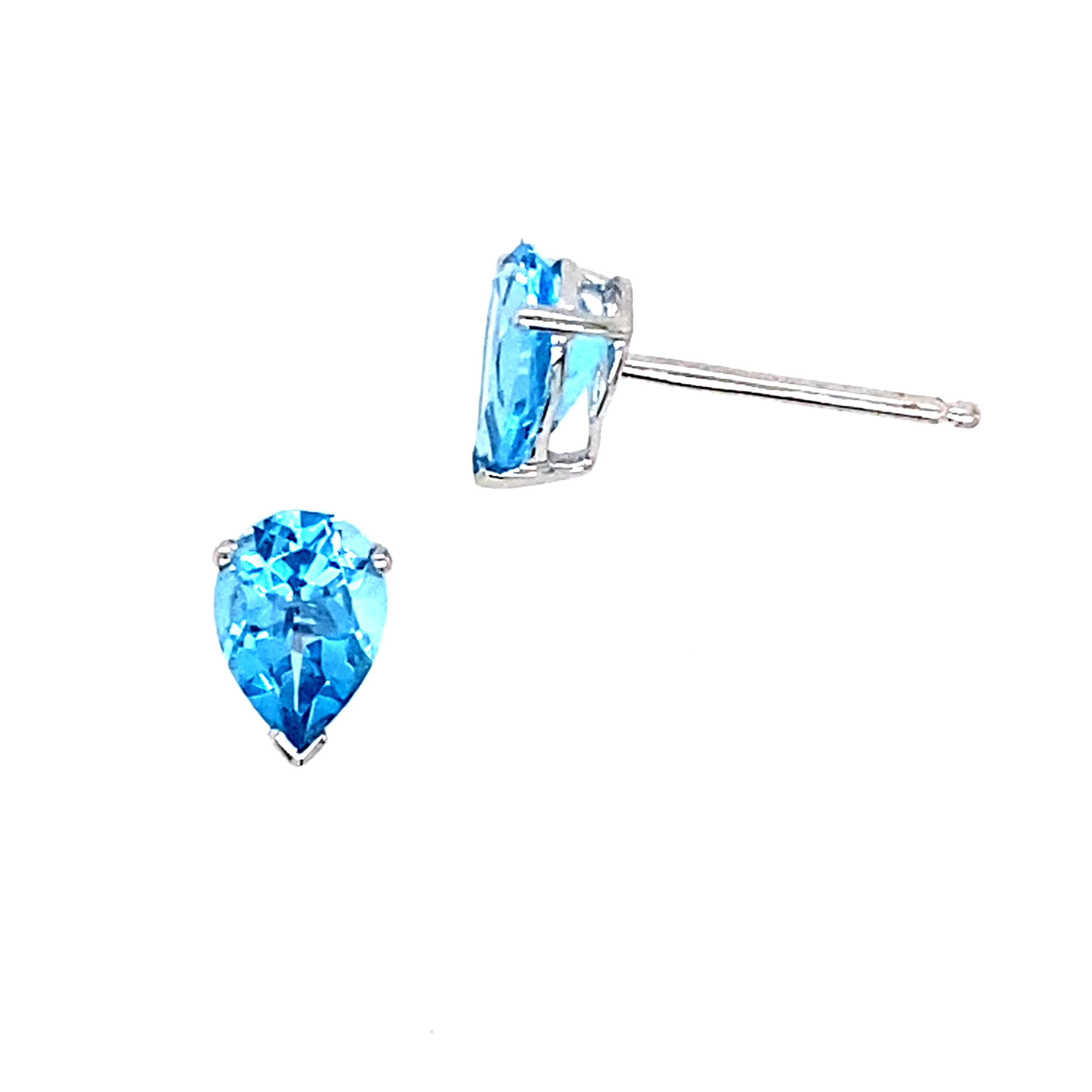 18 Carat White Gold and Blue Toaz Studs