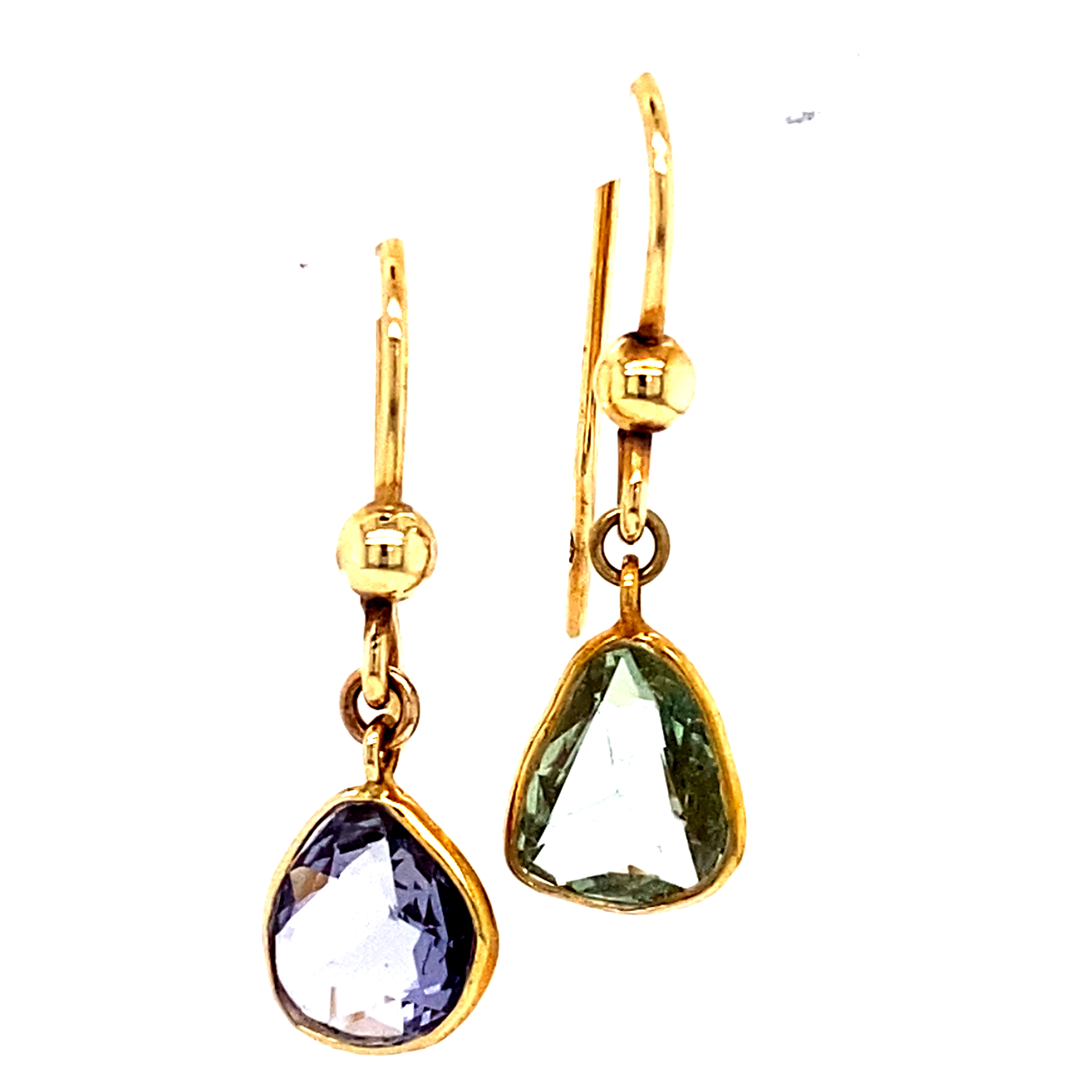 18 Carat Yellow Gold and Sapphire Earrings