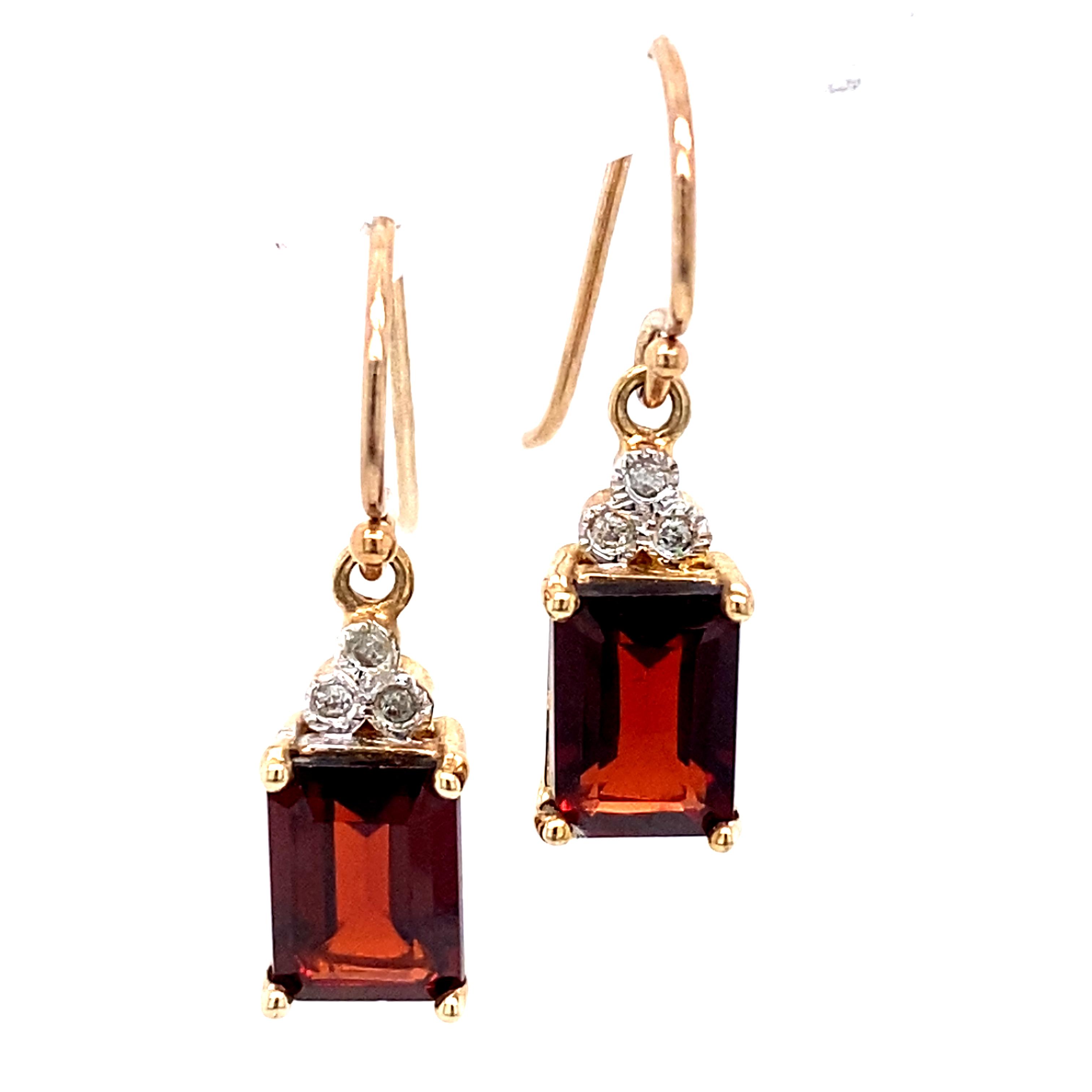 9 Carat Yellow Gold Garnet and Diamond Drops