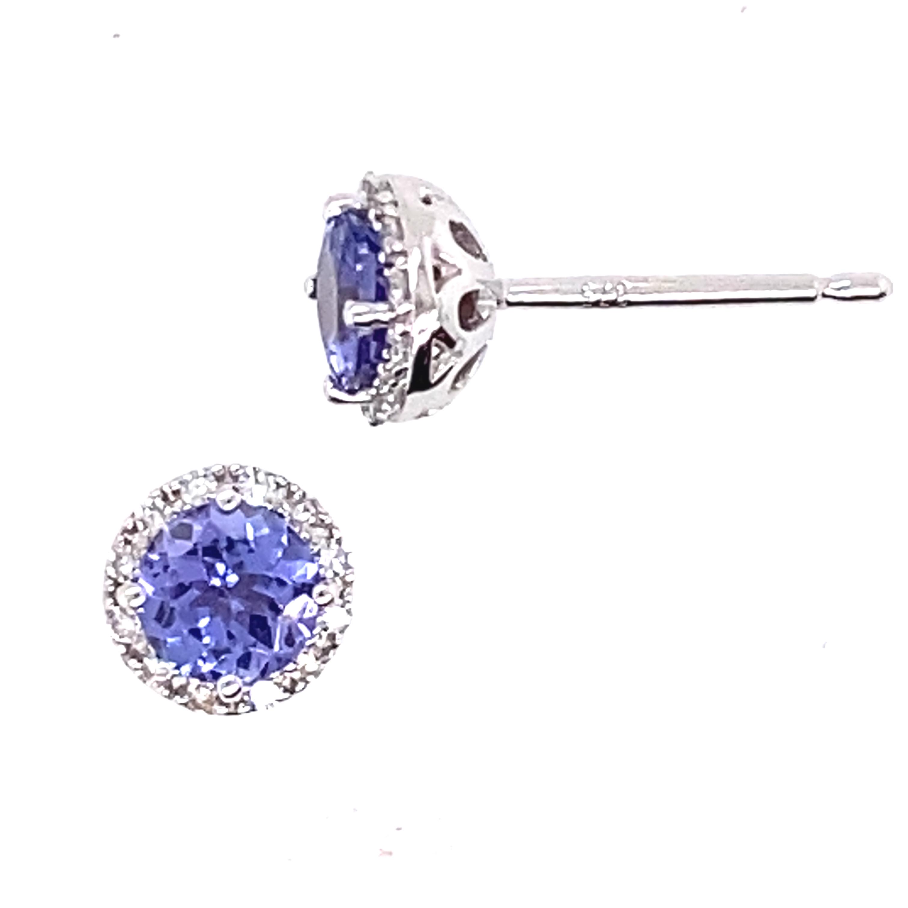 Beautiful Tanzanite and Diamond stud earrings