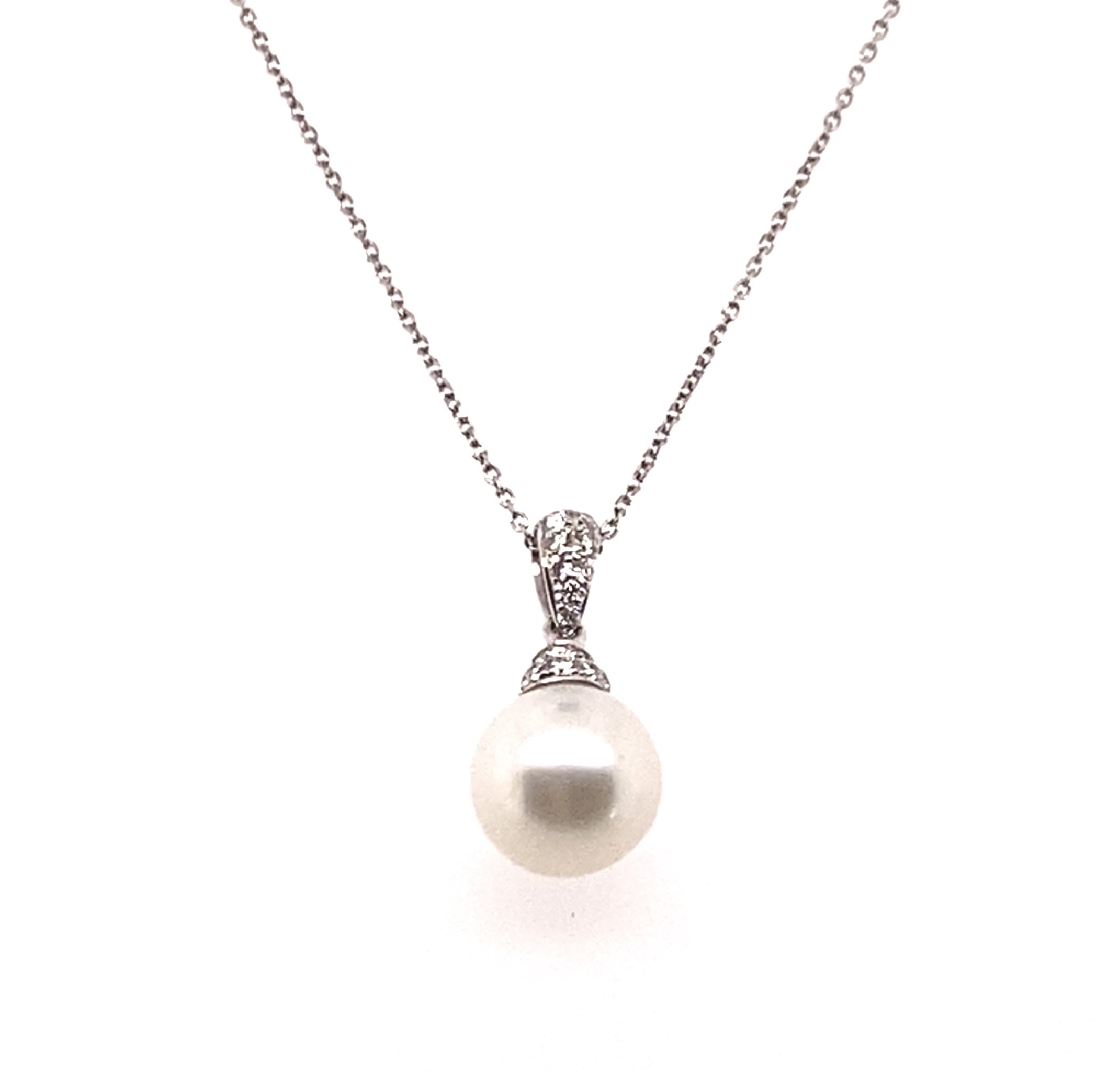 18 Carat White Gold 7.5mm Cultured Pearl Pave Diamond SetPendant