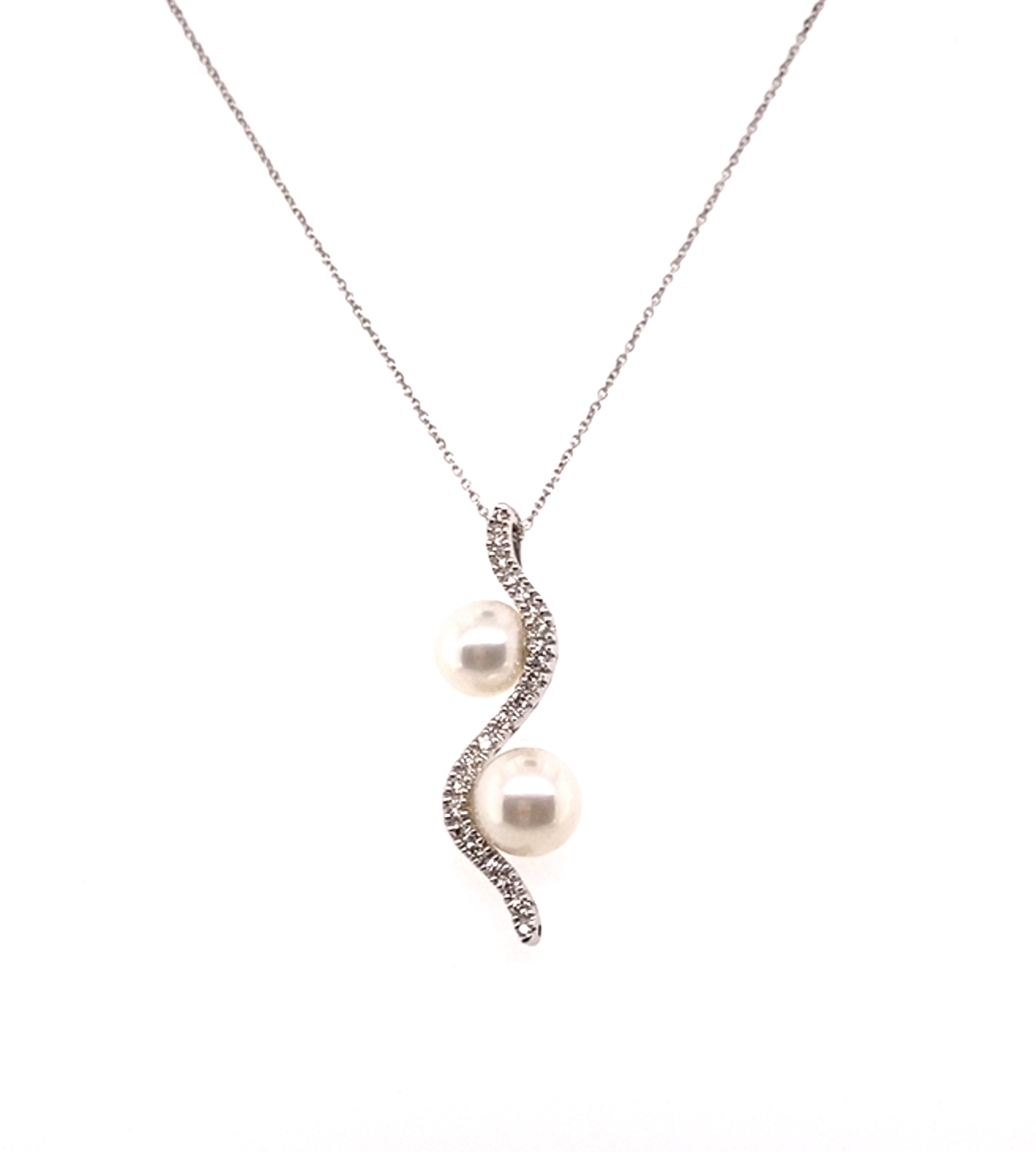 An 18ct White Gold Double Cultured Pearl and Diamond Pendant