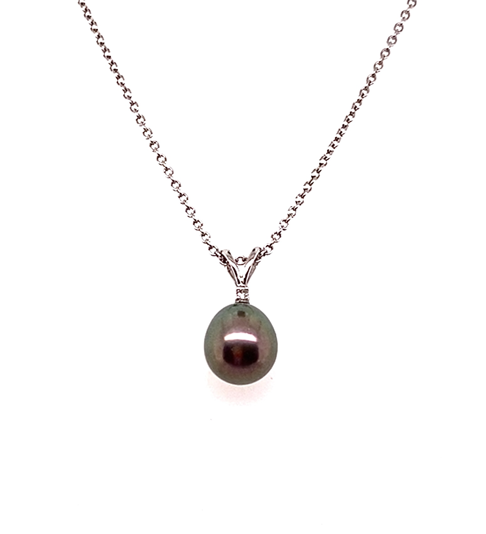A 9ct White Gold Freshwater Black Pearl Pendant