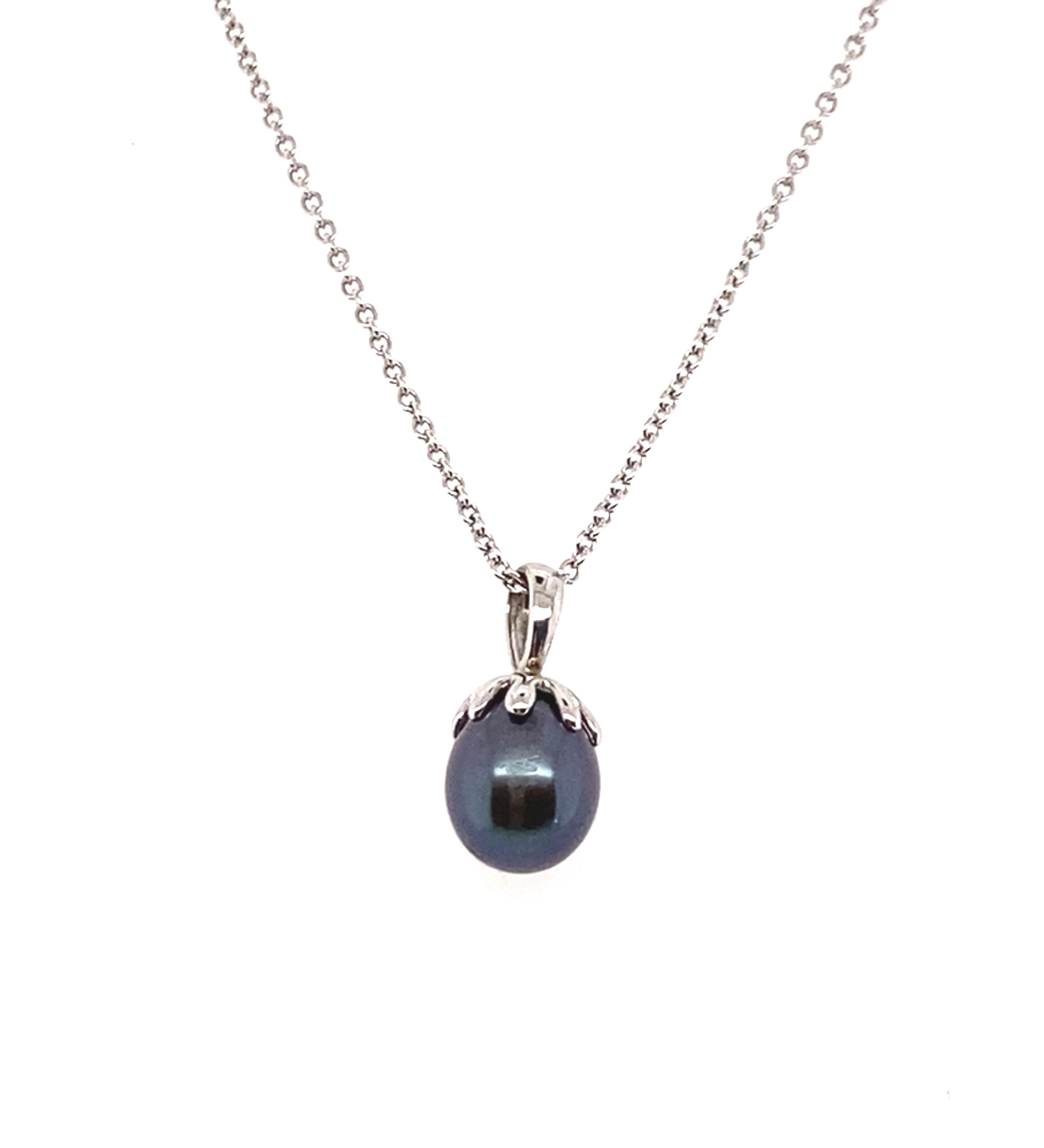 A Fresh Water Black Pearl drop Pendant in 9ct White Gold