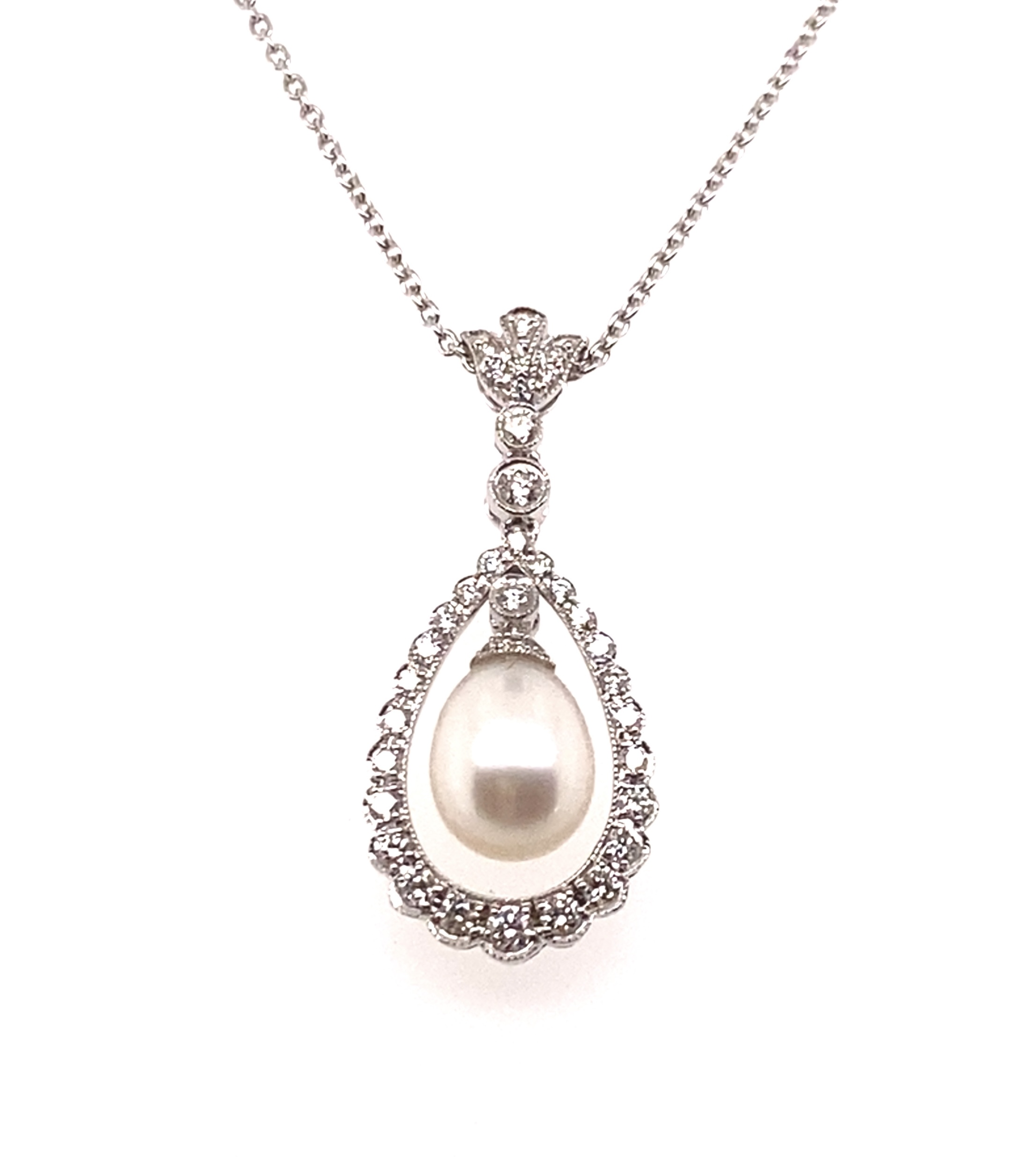 18 Carat White Gold Pearl and Diamond Necklace
