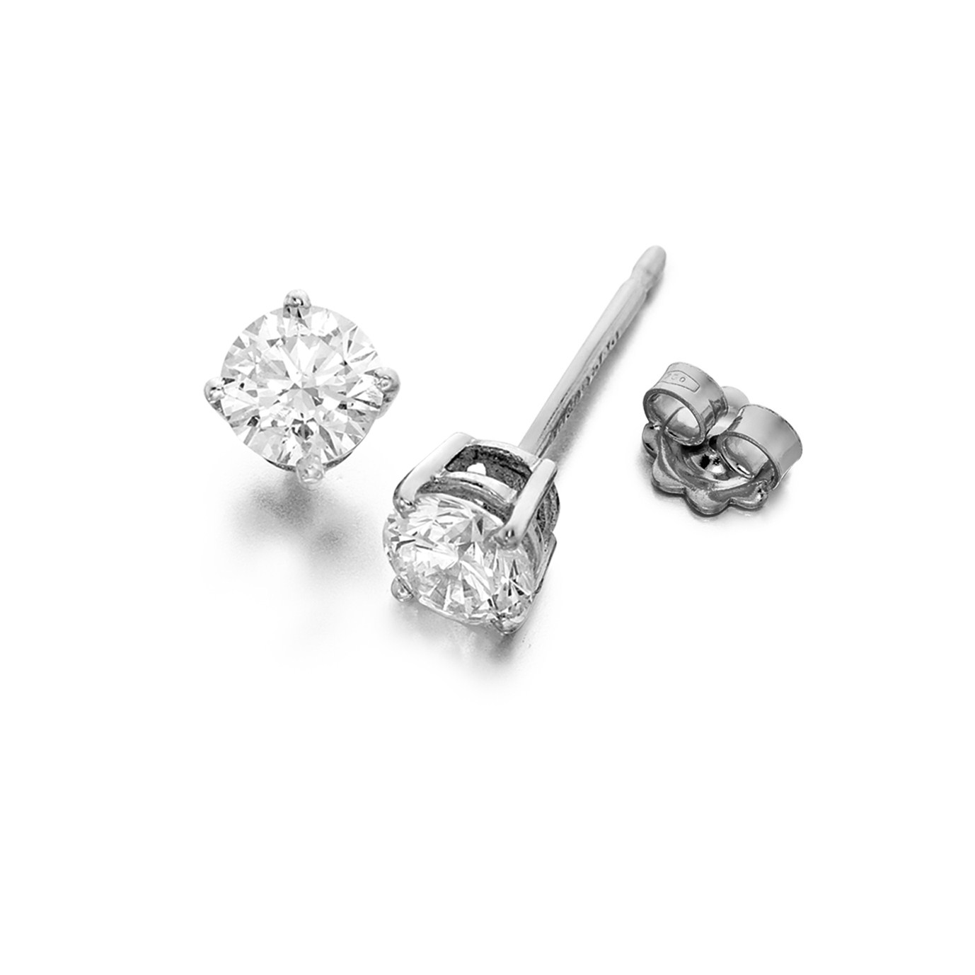 Diamond Stud Earrings 0.90cts G/H Si 18 Carat White Gold
