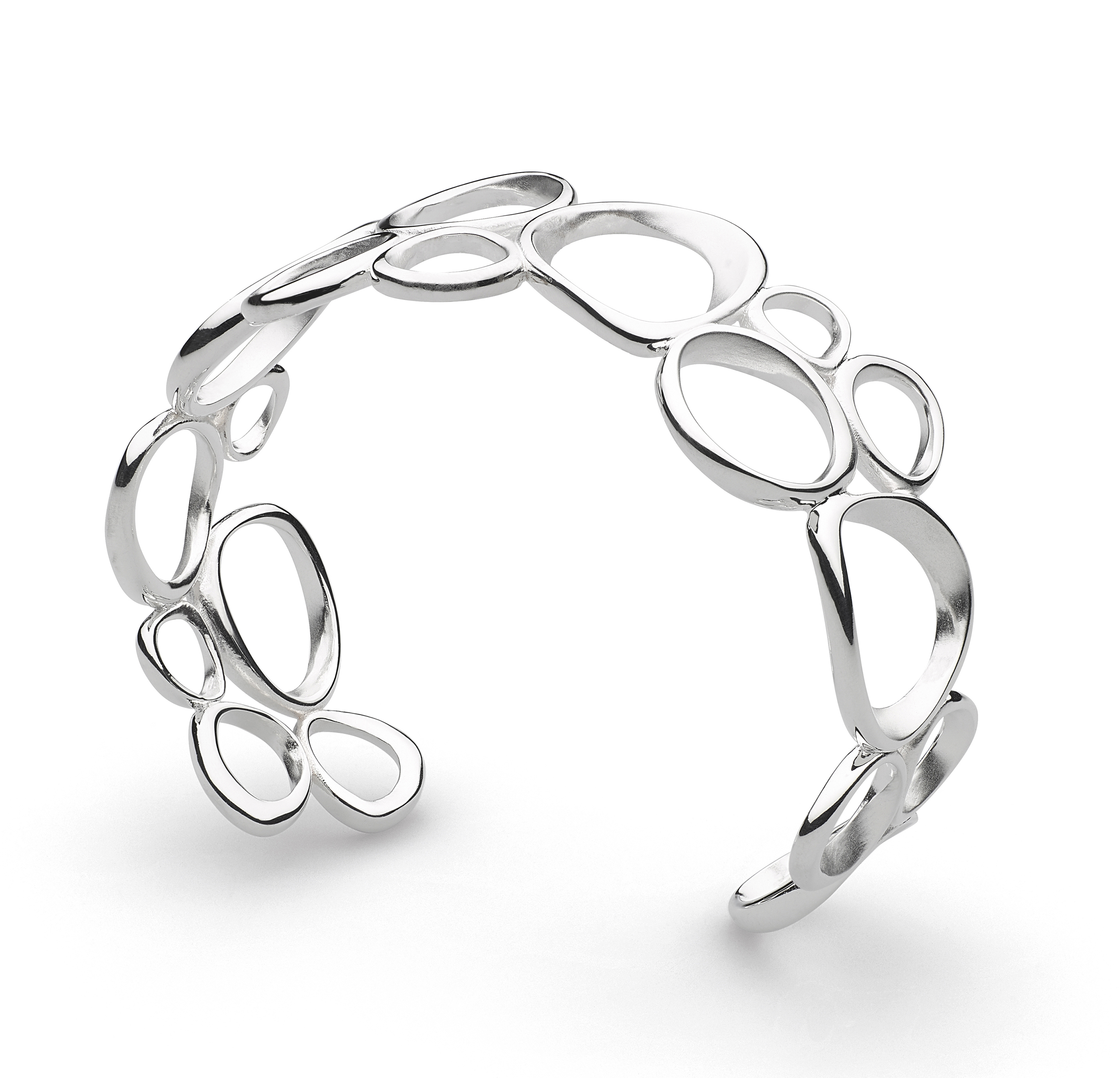 Sterling silver organic circles cuff bangle