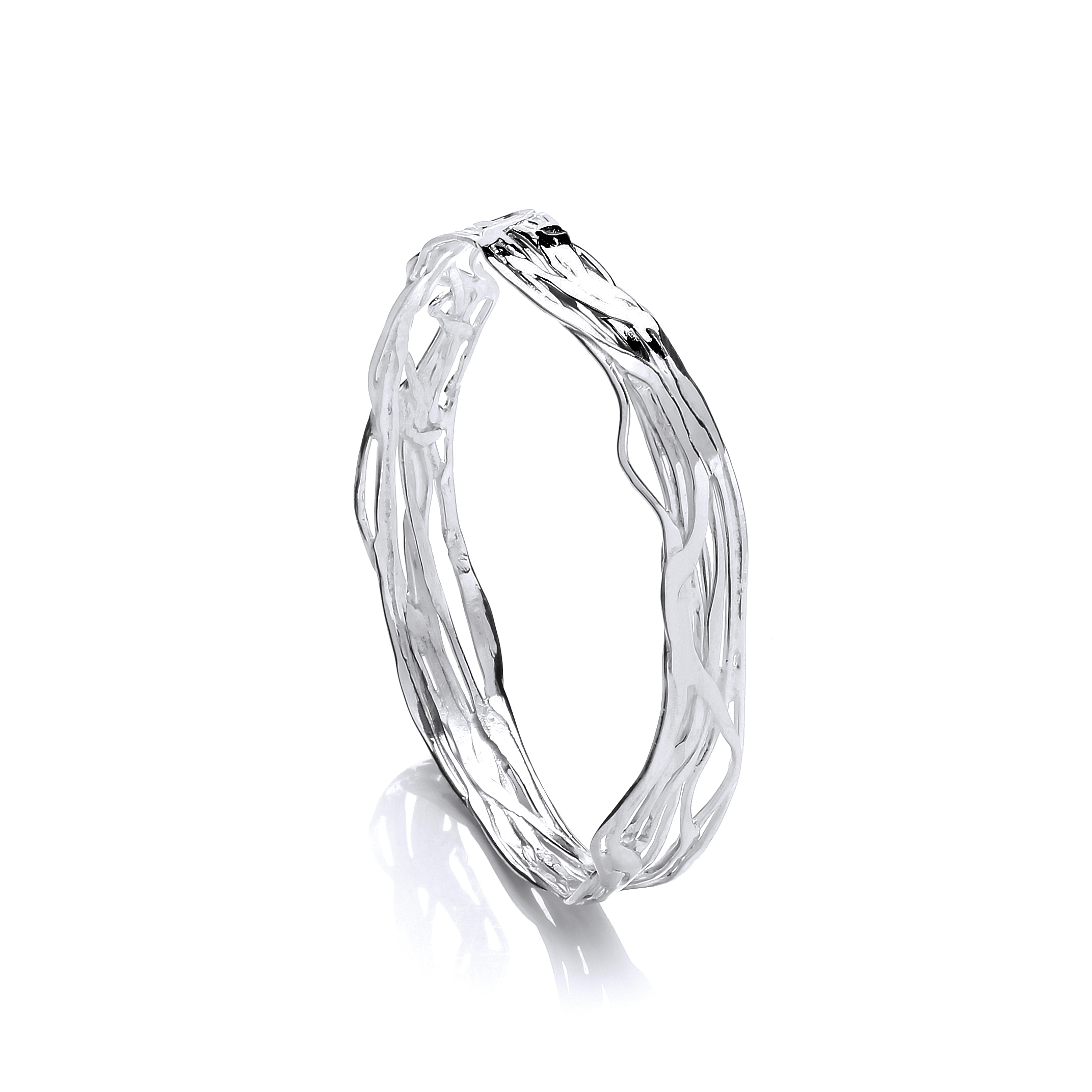 Sterling silver organice texture bangle