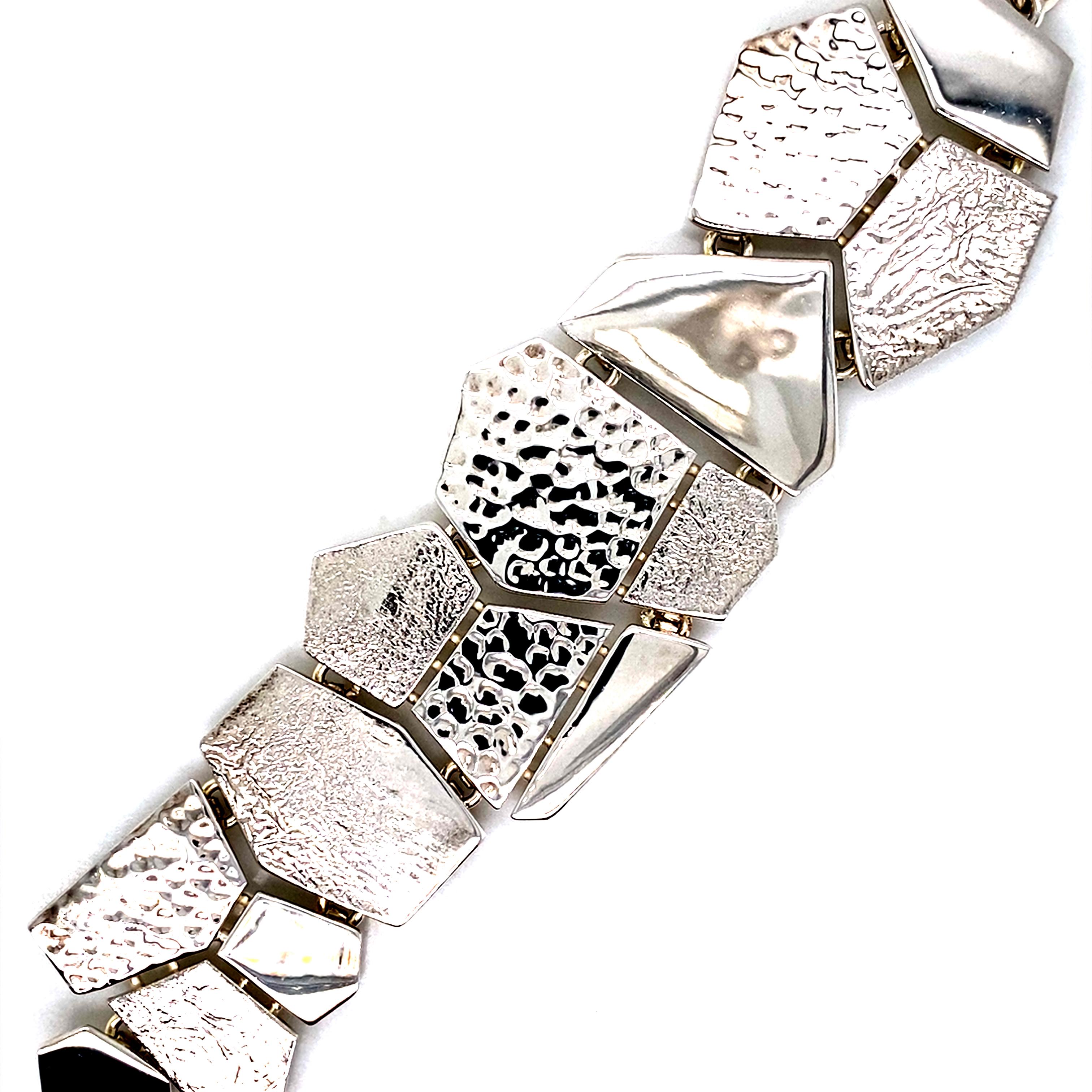Silver geometric slat bracelet