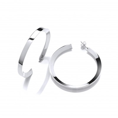 Large Silver Square Edge Hoops