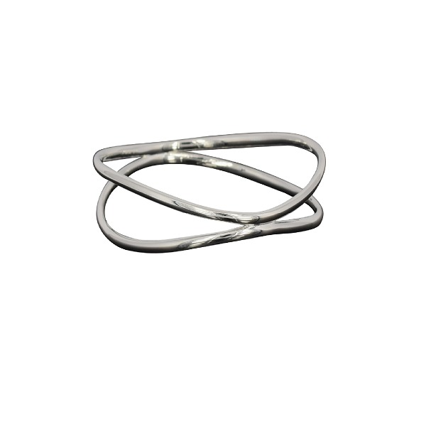Sterling silver oval two band bangle
