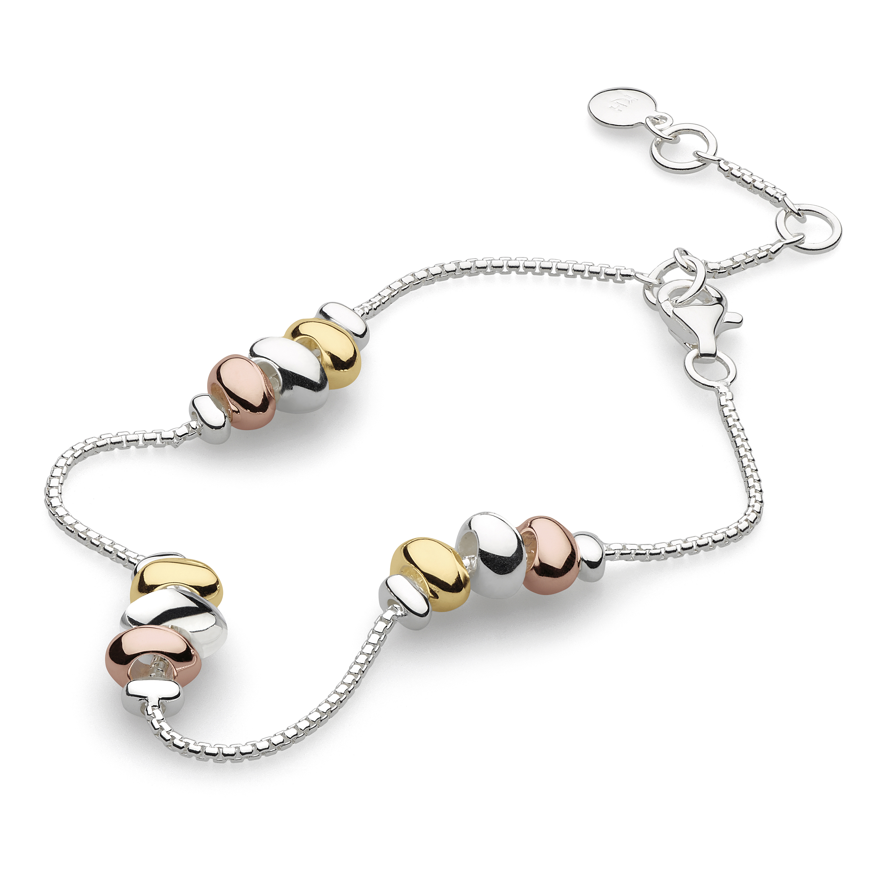 Sterling silver and gold/rose plate pebble bracelet