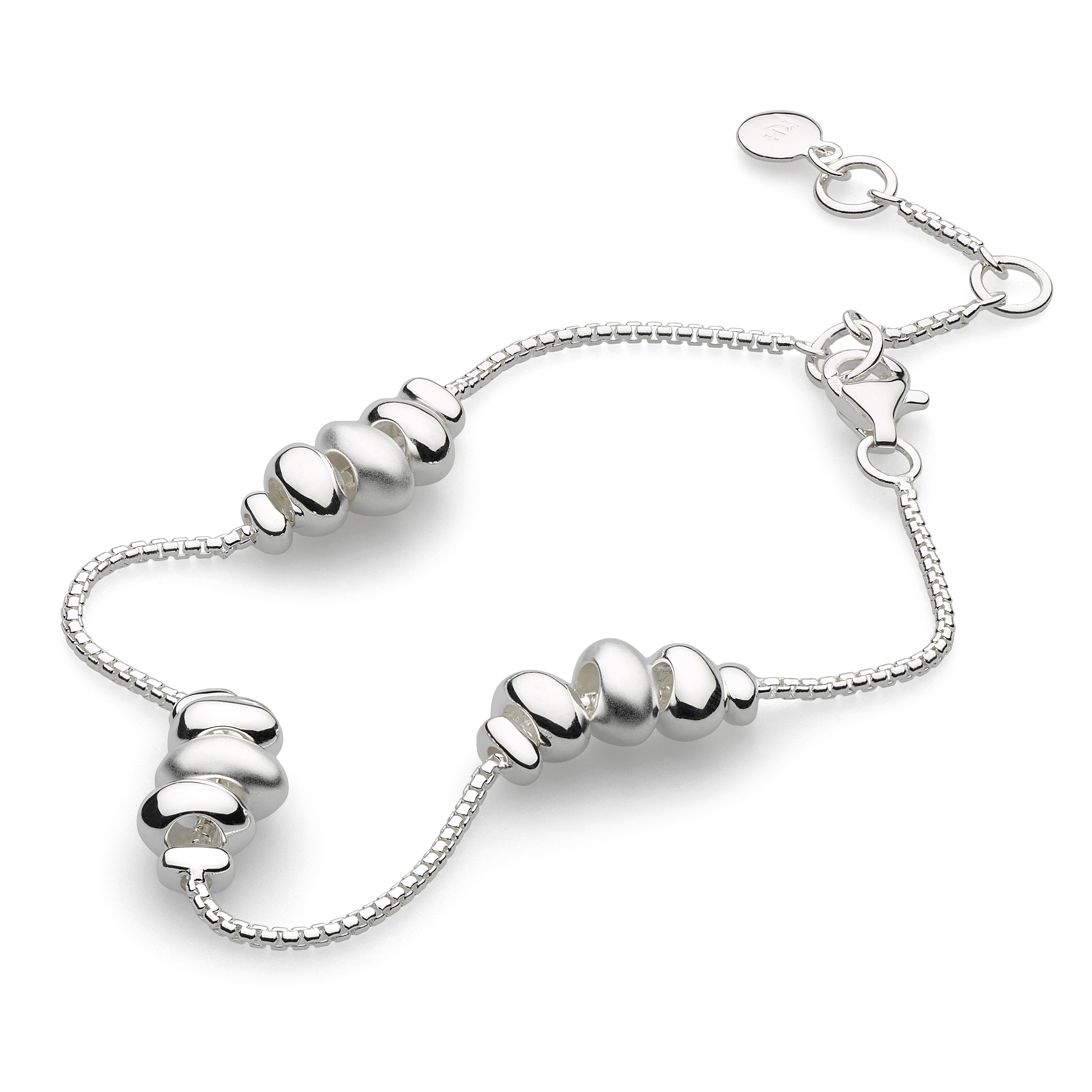 Sterling silver bracelet with trio of pebbles