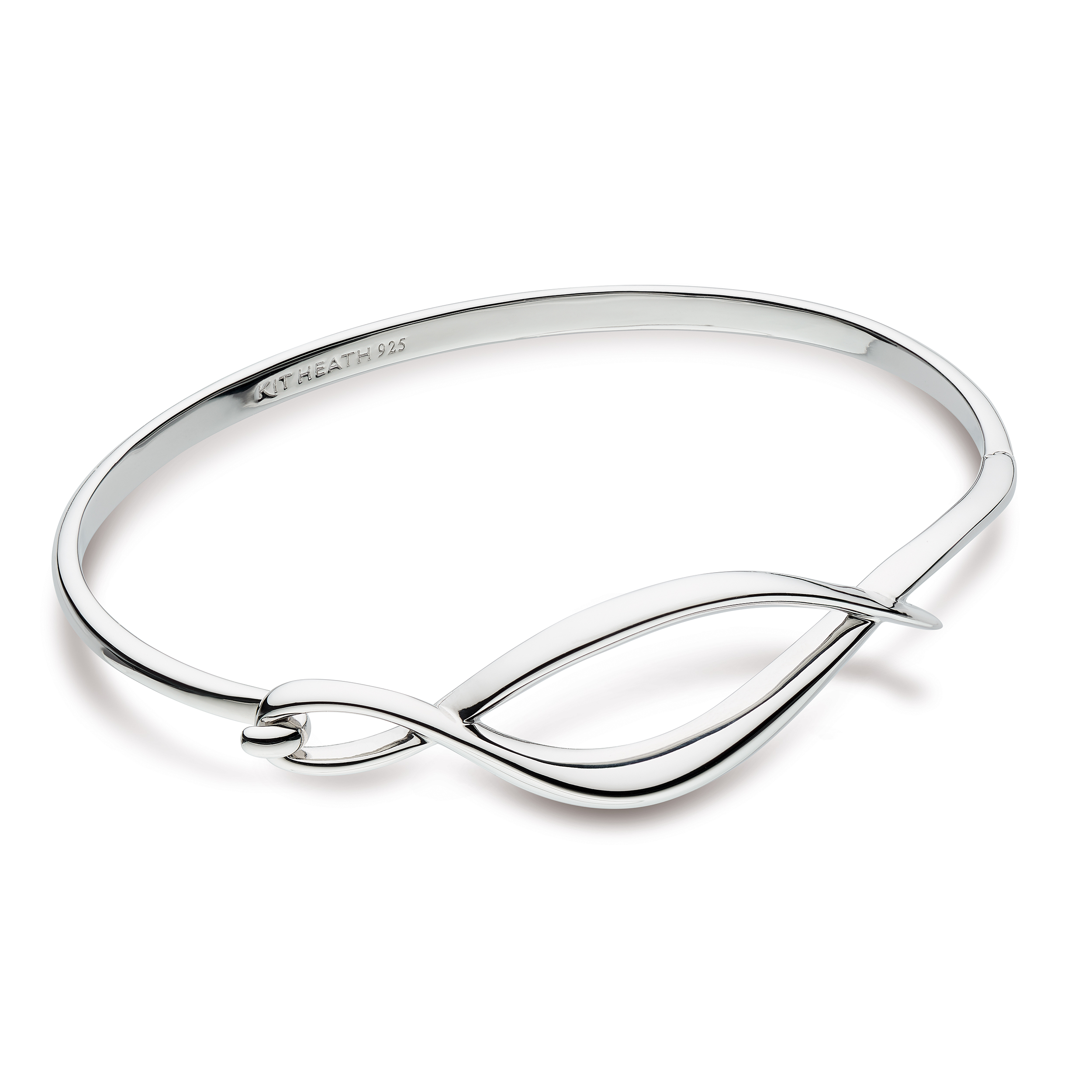 Sterling silver bangle with entwined design