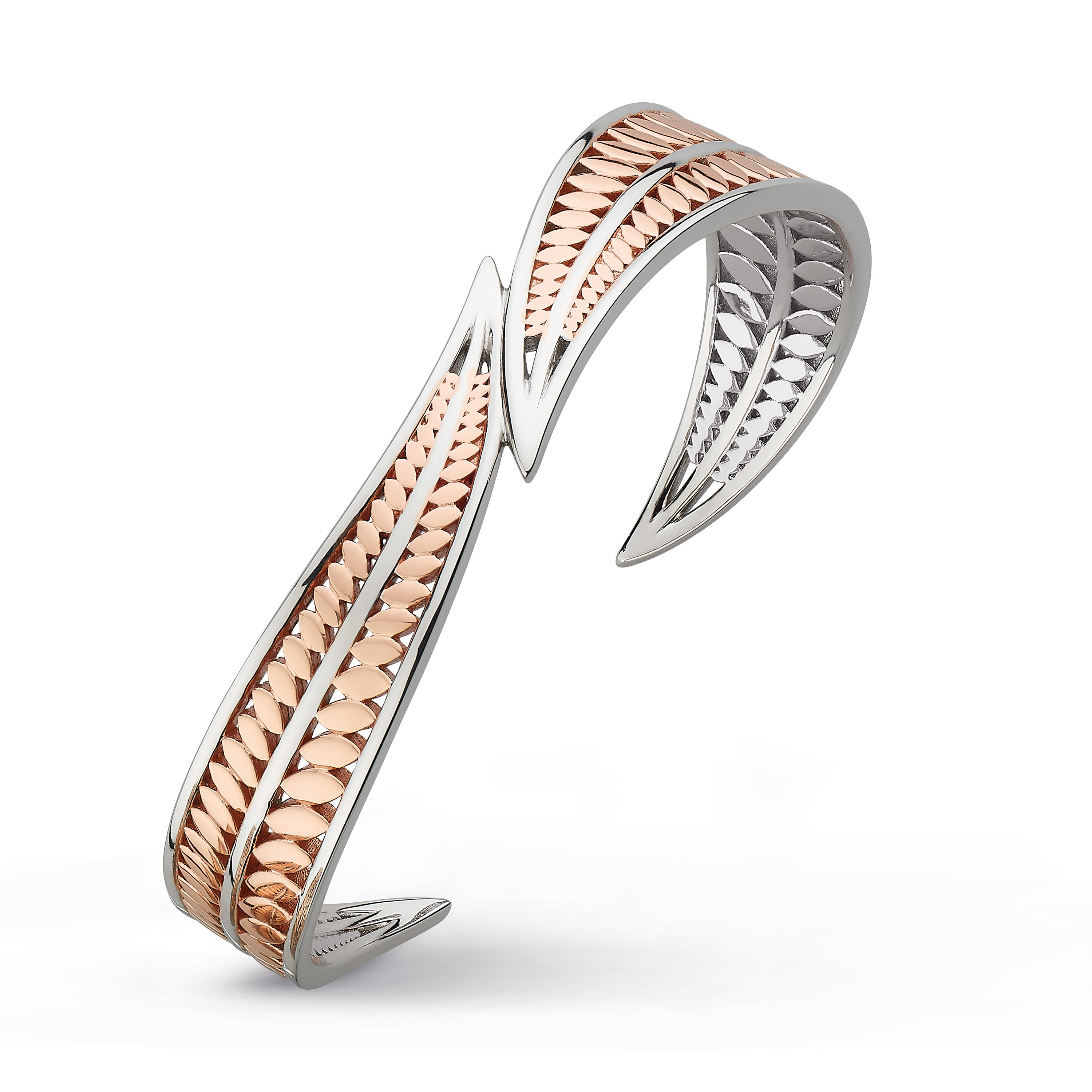 Sterling silver and rose gold plate bangle