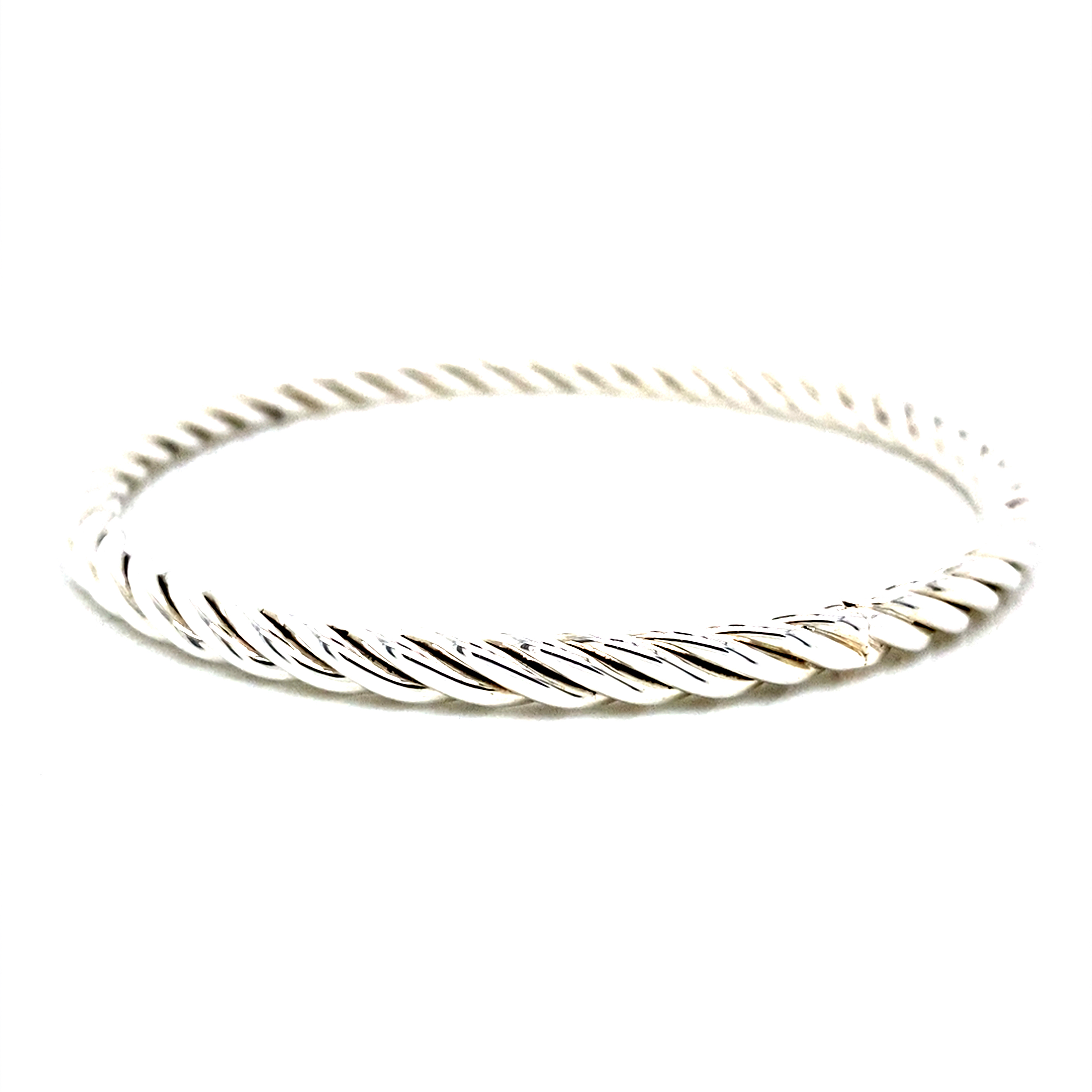 Sterling silver bangle in twisted rope design