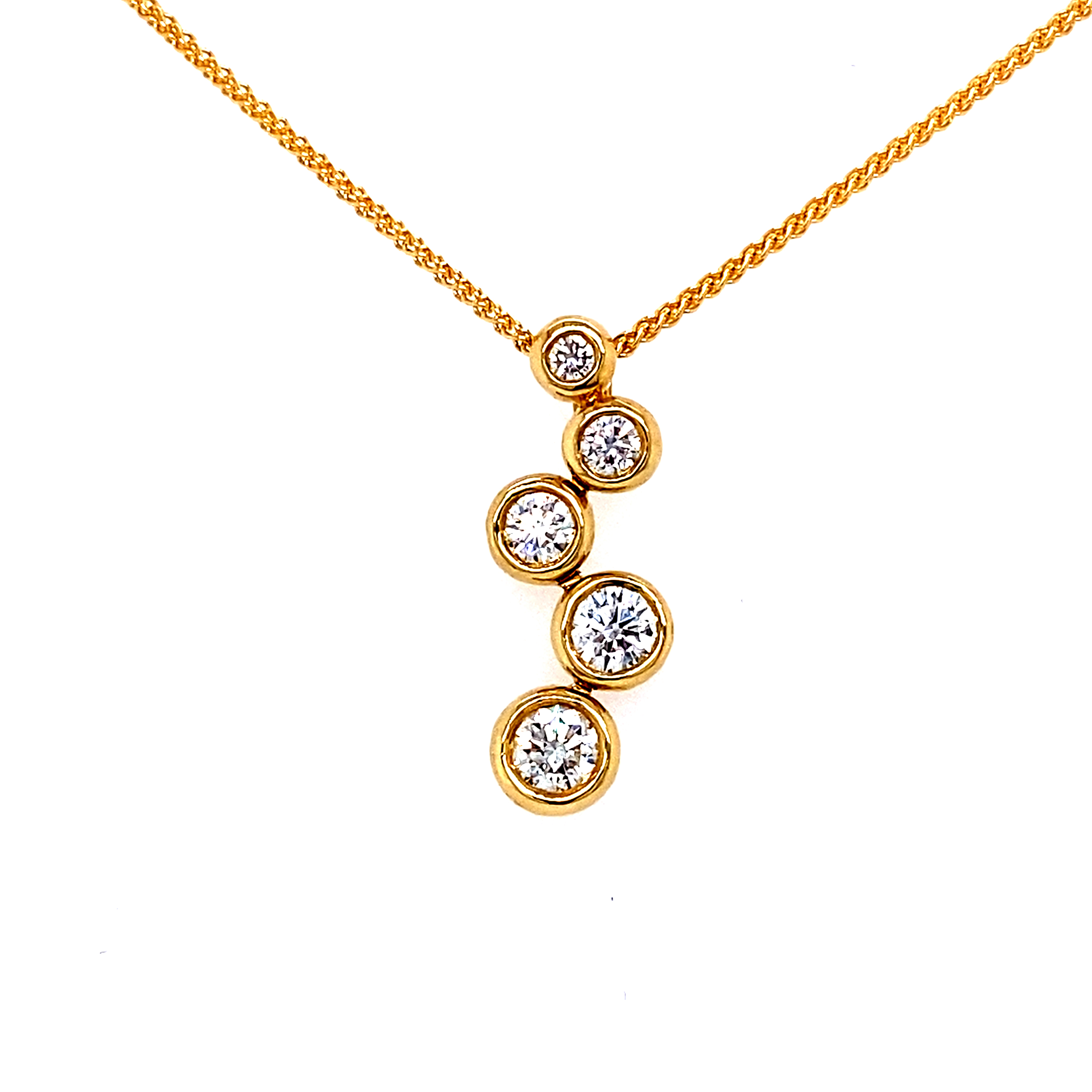 18ct Yellow Gold Bubbles Diamond Pendant -  0.63ct