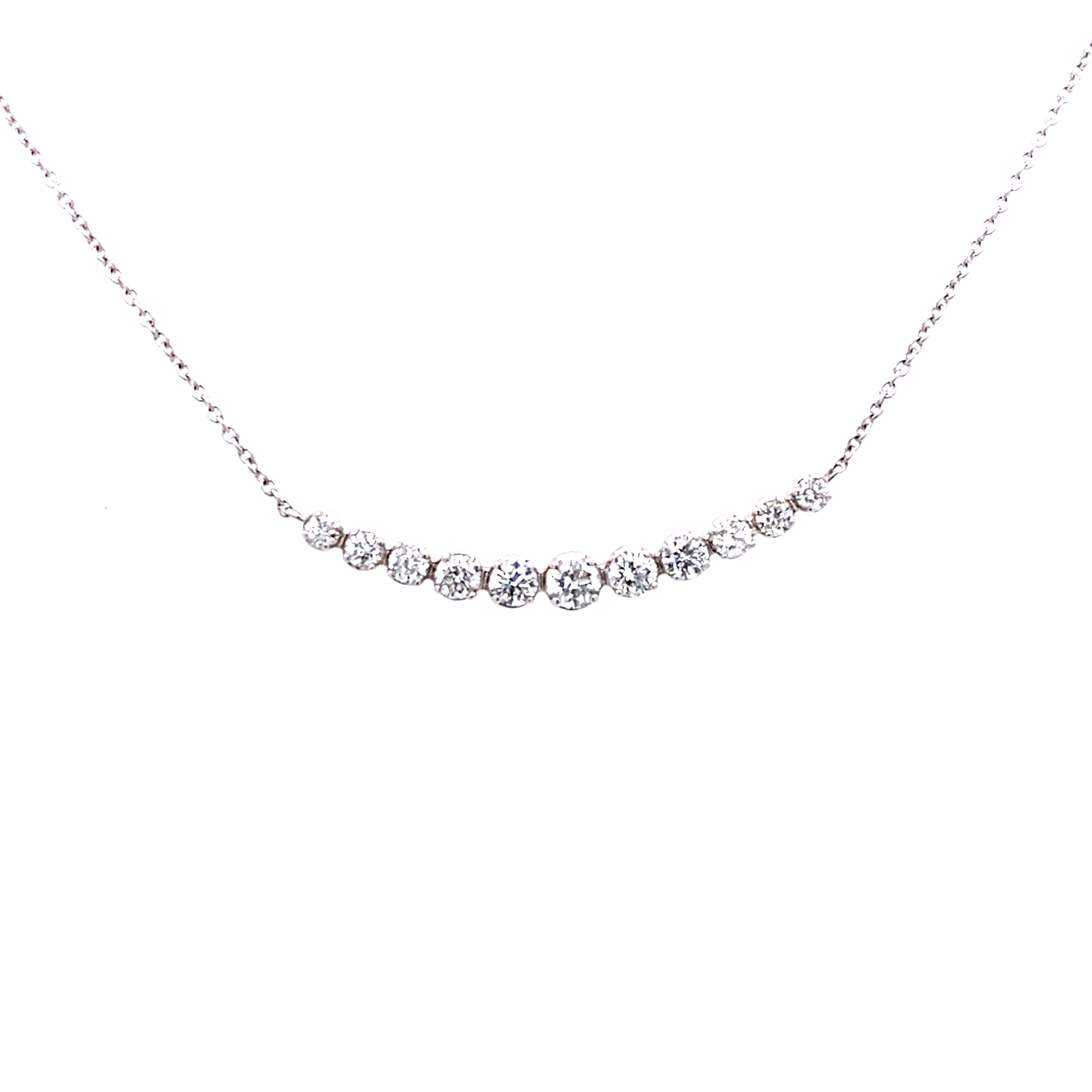 18 Carat White Gold Graduated Diamond Smile Necklet 0.50 Cts