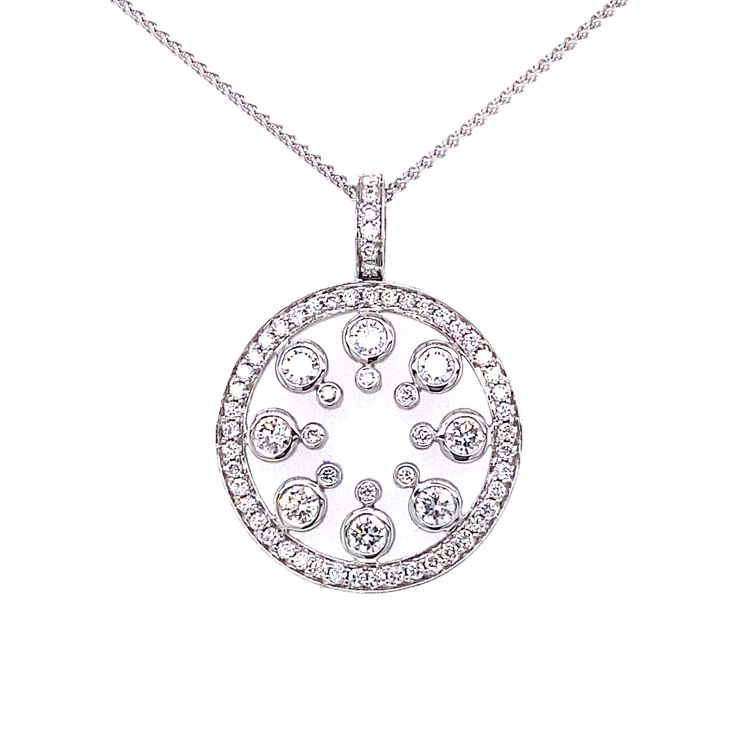 18 Carat White Gold Diamond Circle Design Pendant  - 1.00 Carats