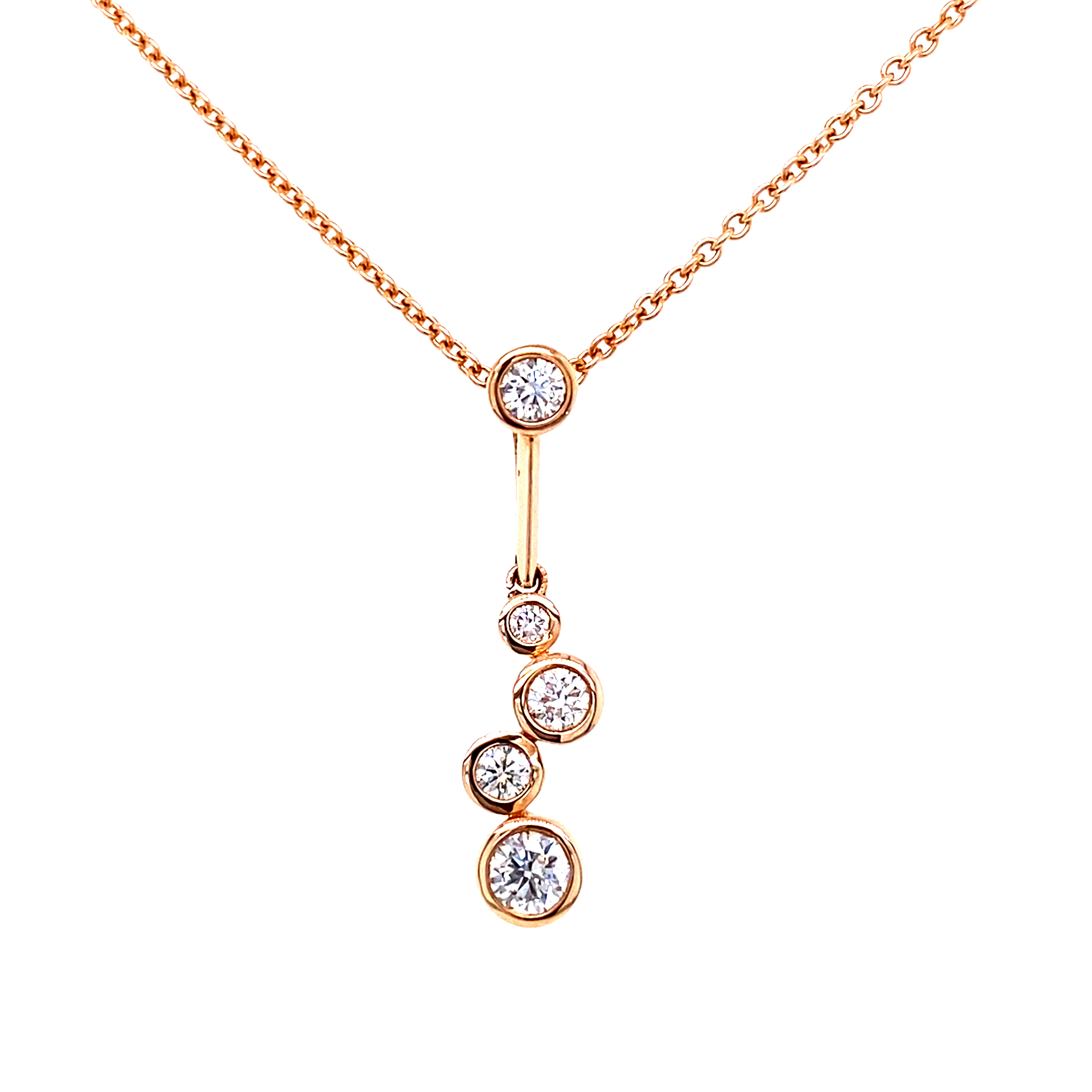 Diamond Set Drop Pendant in 18ct Rose Gold  - 0.42ct