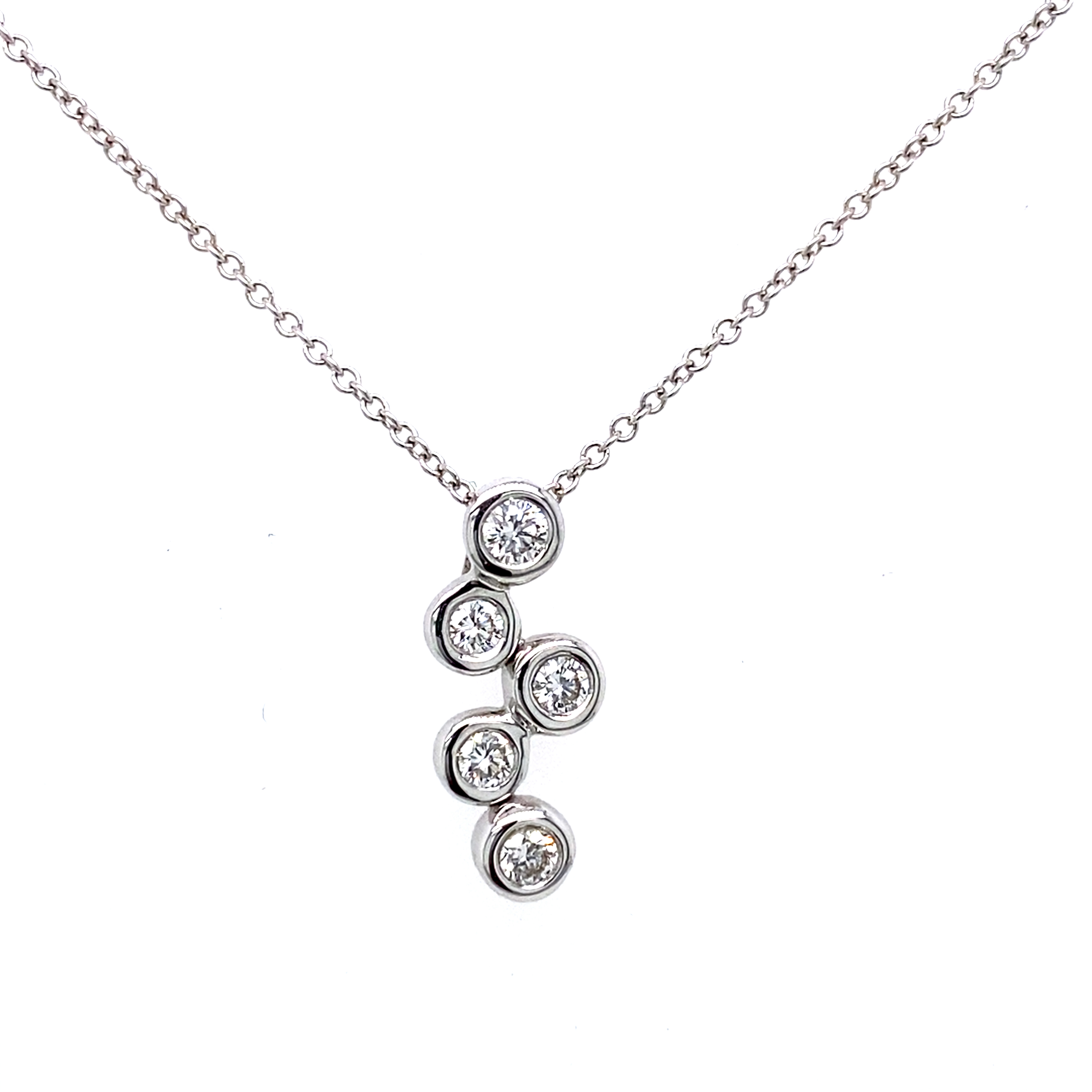 18ct White Gold Bubbles Pendant 0.25ct