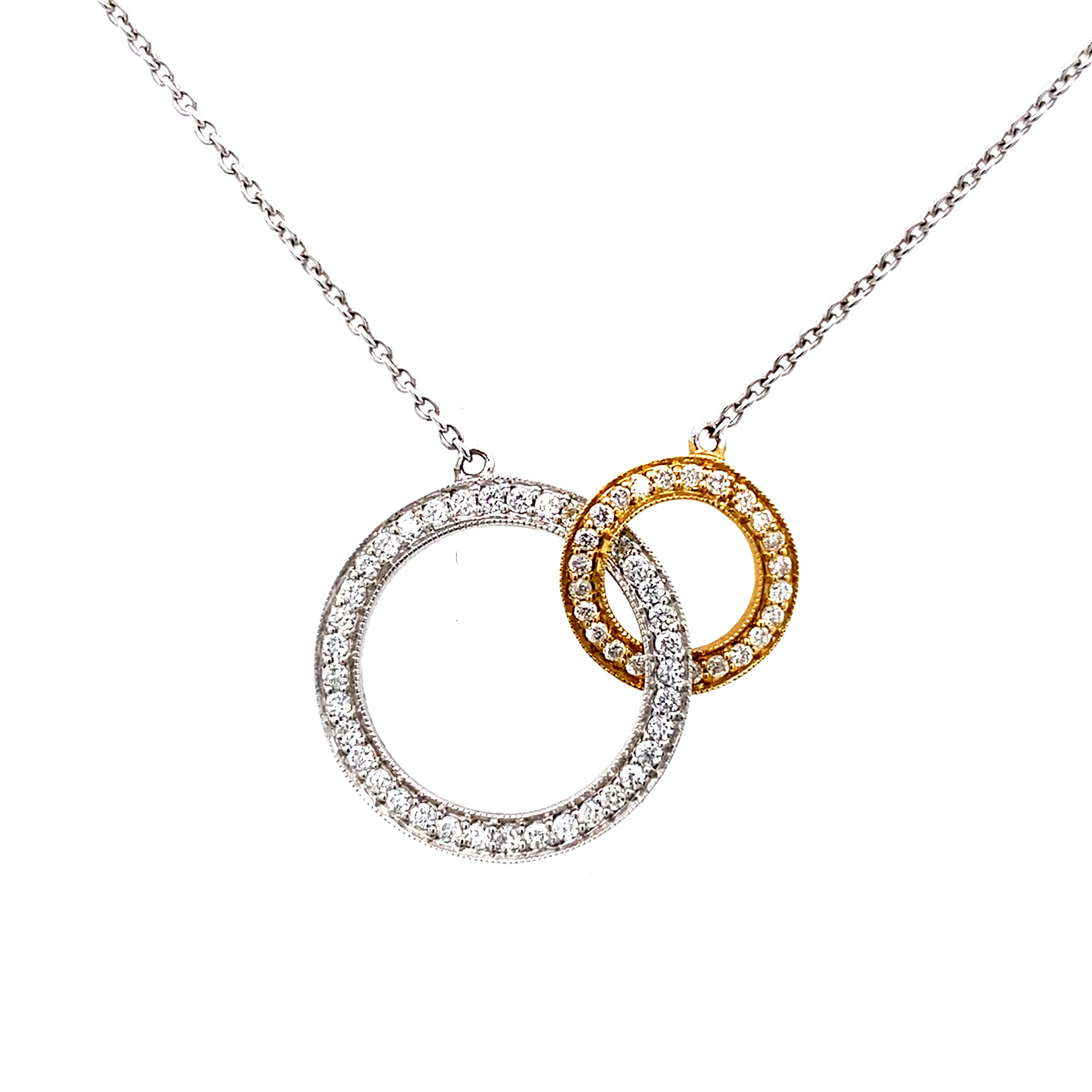 18 Carat White and Yellow Gold Diamond Necklace