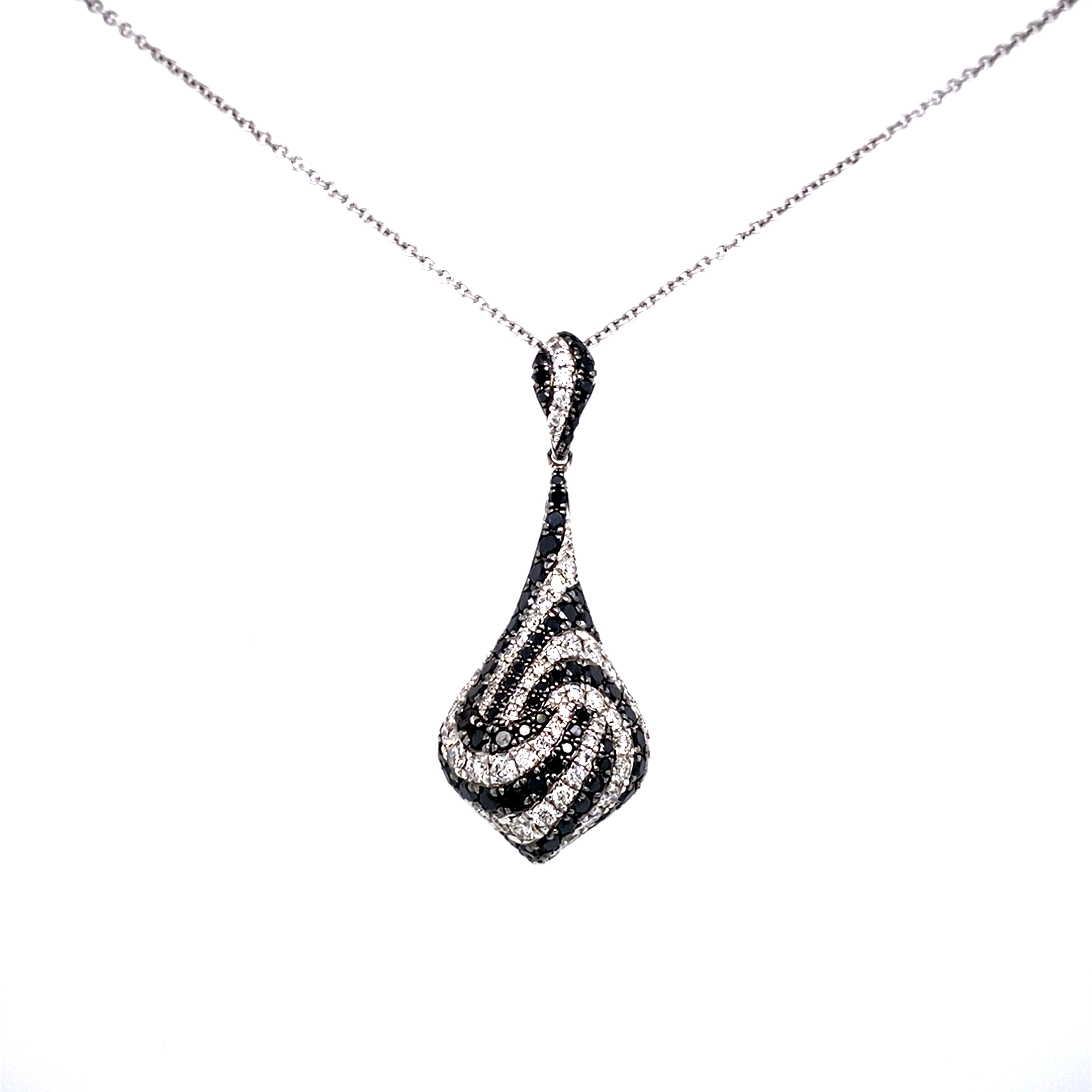 18 Carat White Gold Black and White Diamond Pendant