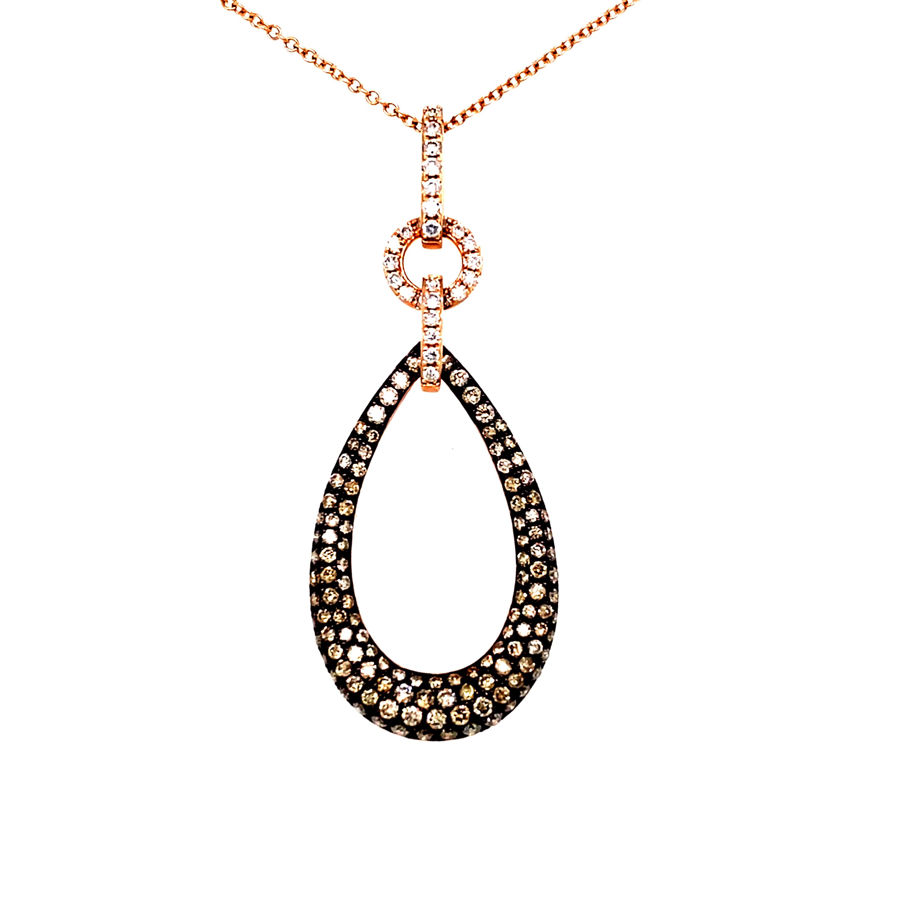 14ct Rose Gold and Cognac Diamond Open Teardrop Pendant