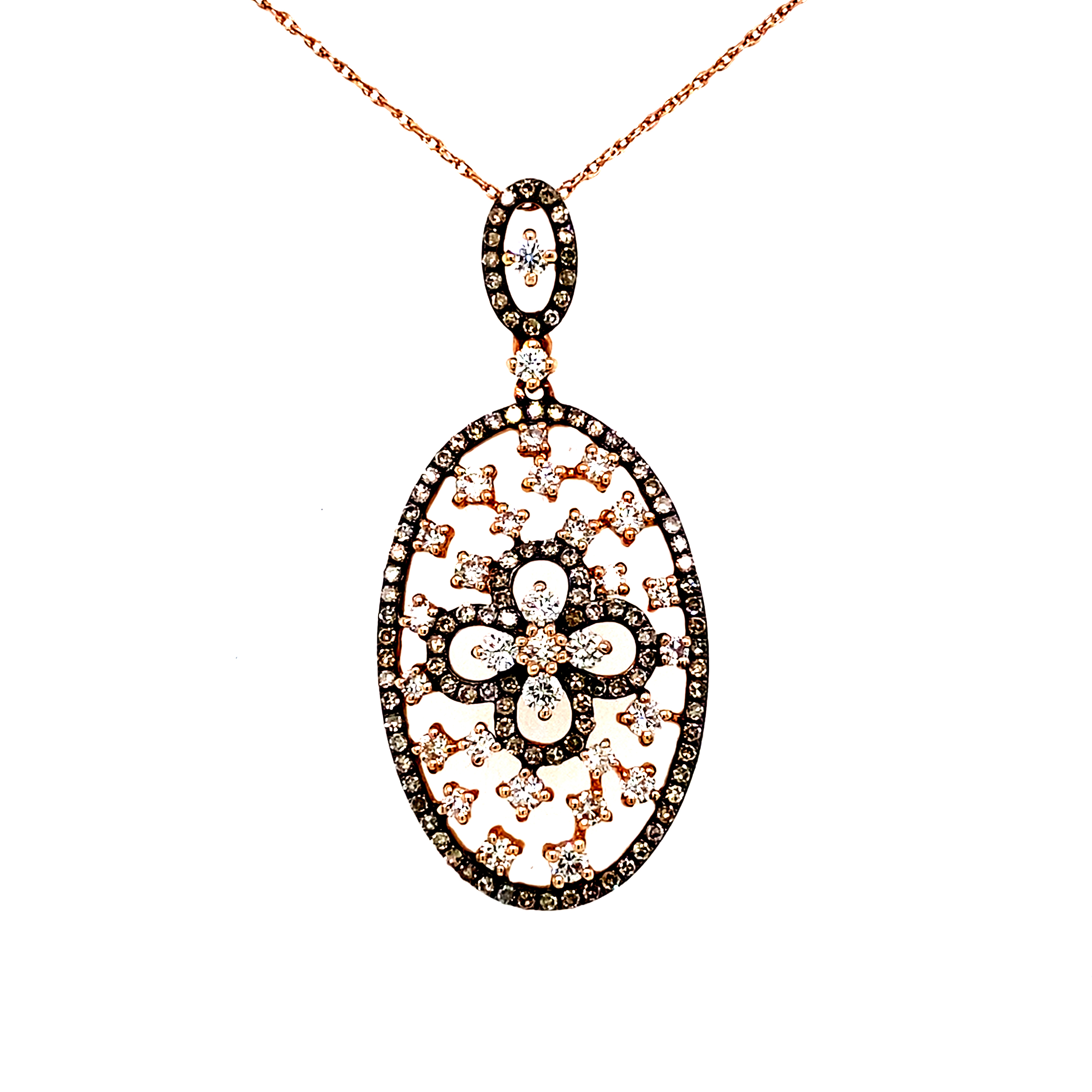 14 Carat Rose Gold with Cognac and White Diamond Oval Pendant
