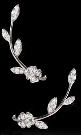 18 Carat White Gold Ear Climber Flower and Leaf Design