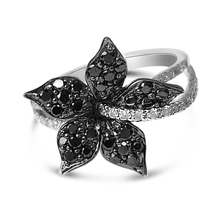 black and white flower ring